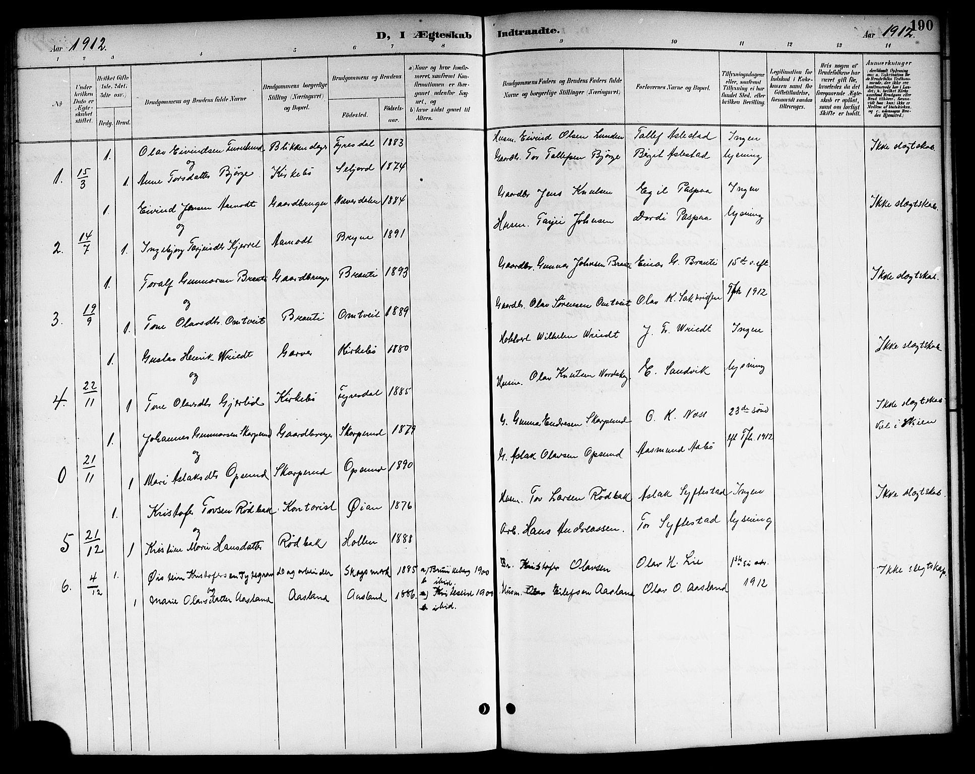 SAKO, Kviteseid kirkebøker, G/Ga/L0002: Klokkerbok nr. I 2, 1893-1918, s. 190
