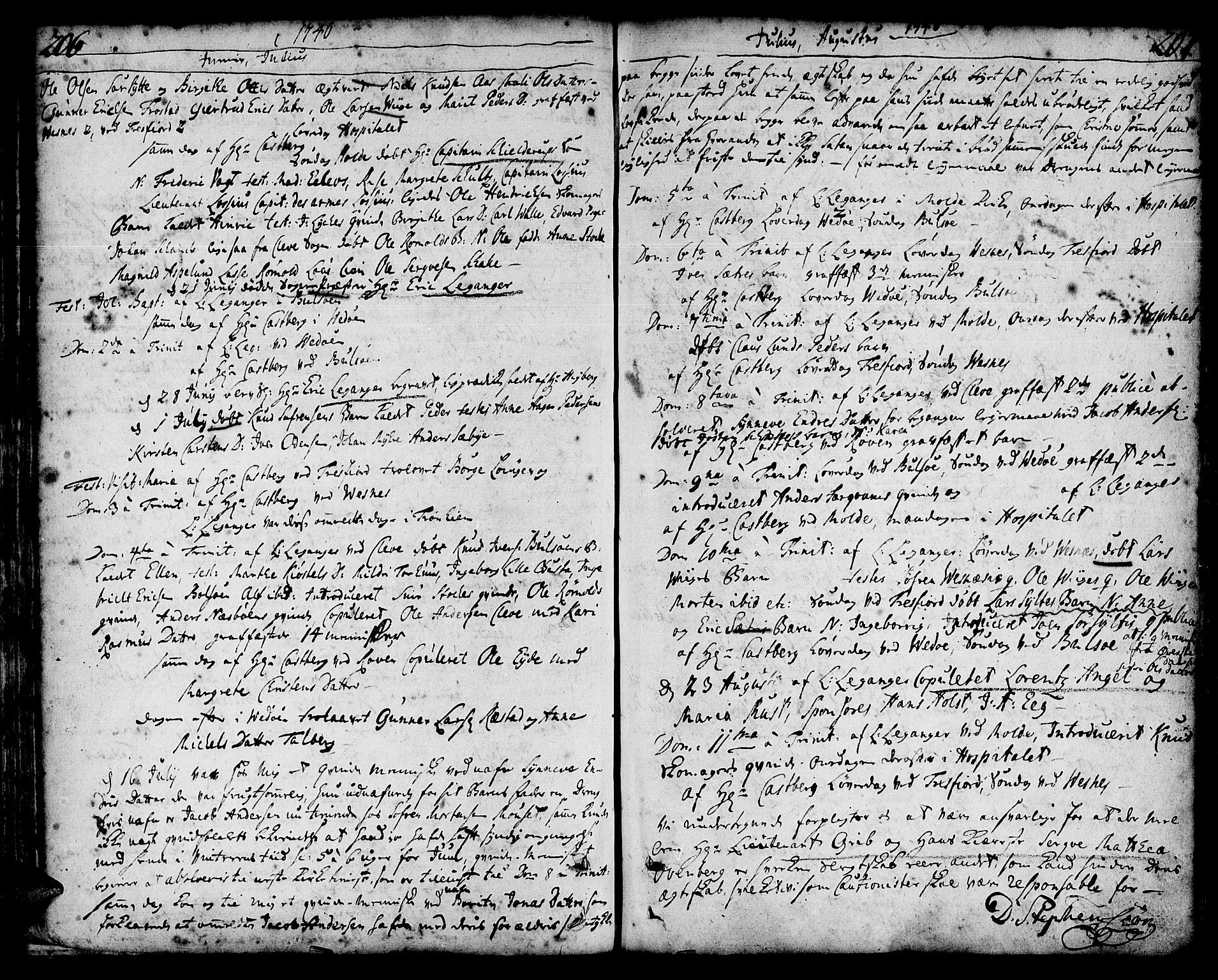 SAT, Ministerialprotokoller, klokkerbøker og fødselsregistre - Møre og Romsdal, 547/L0599: Ministerialbok nr. 547A01, 1721-1764, s. 206-207