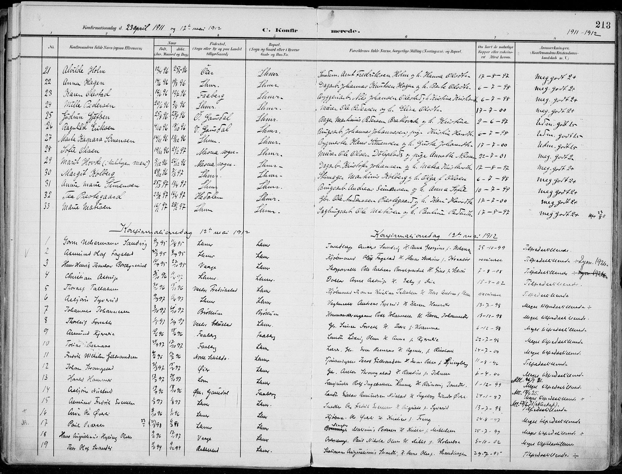 SAH, Lillehammer prestekontor, Ministerialbok nr. 1, 1901-1916, s. 213