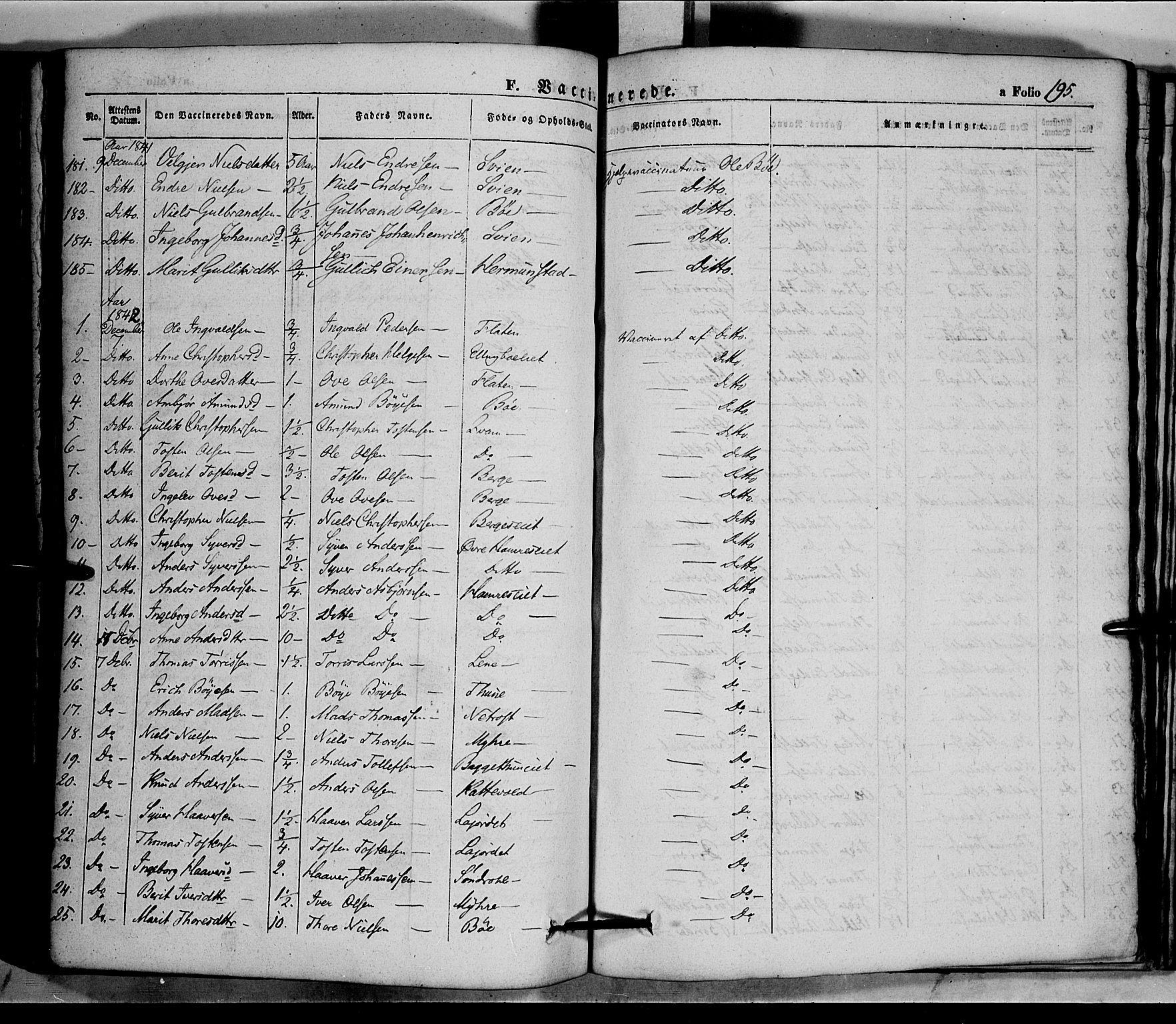 SAH, Vang prestekontor, Valdres, Ministerialbok nr. 5, 1831-1845, s. 195