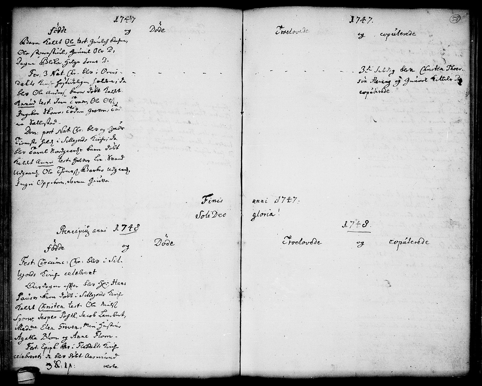 SAKO, Seljord kirkebøker, F/Fa/L0006: Ministerialbok nr. I 6, 1744-1755, s. 55
