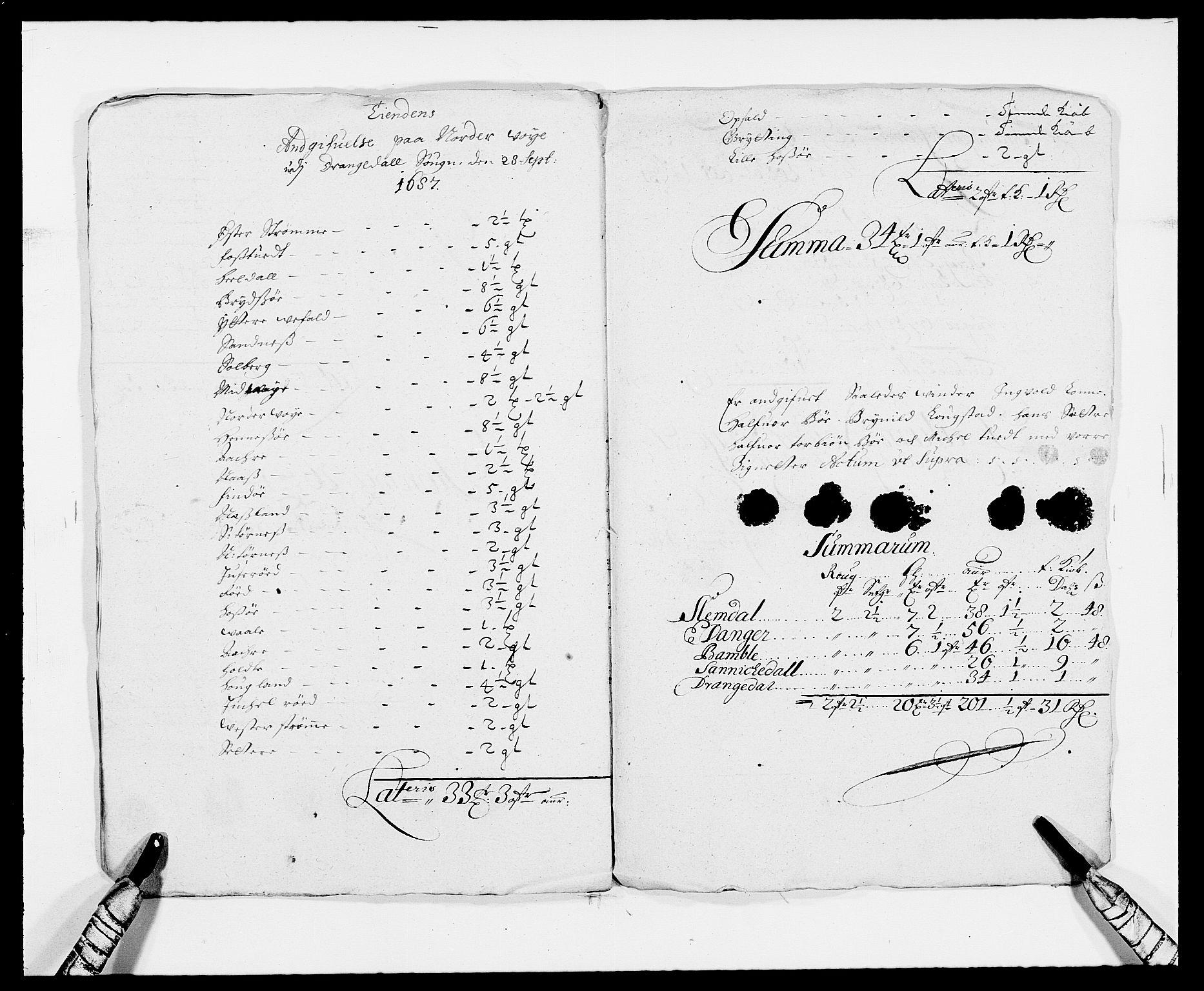 RA, Rentekammeret inntil 1814, Reviderte regnskaper, Fogderegnskap, R34/L2049: Fogderegnskap Bamble, 1685-1687, s. 266