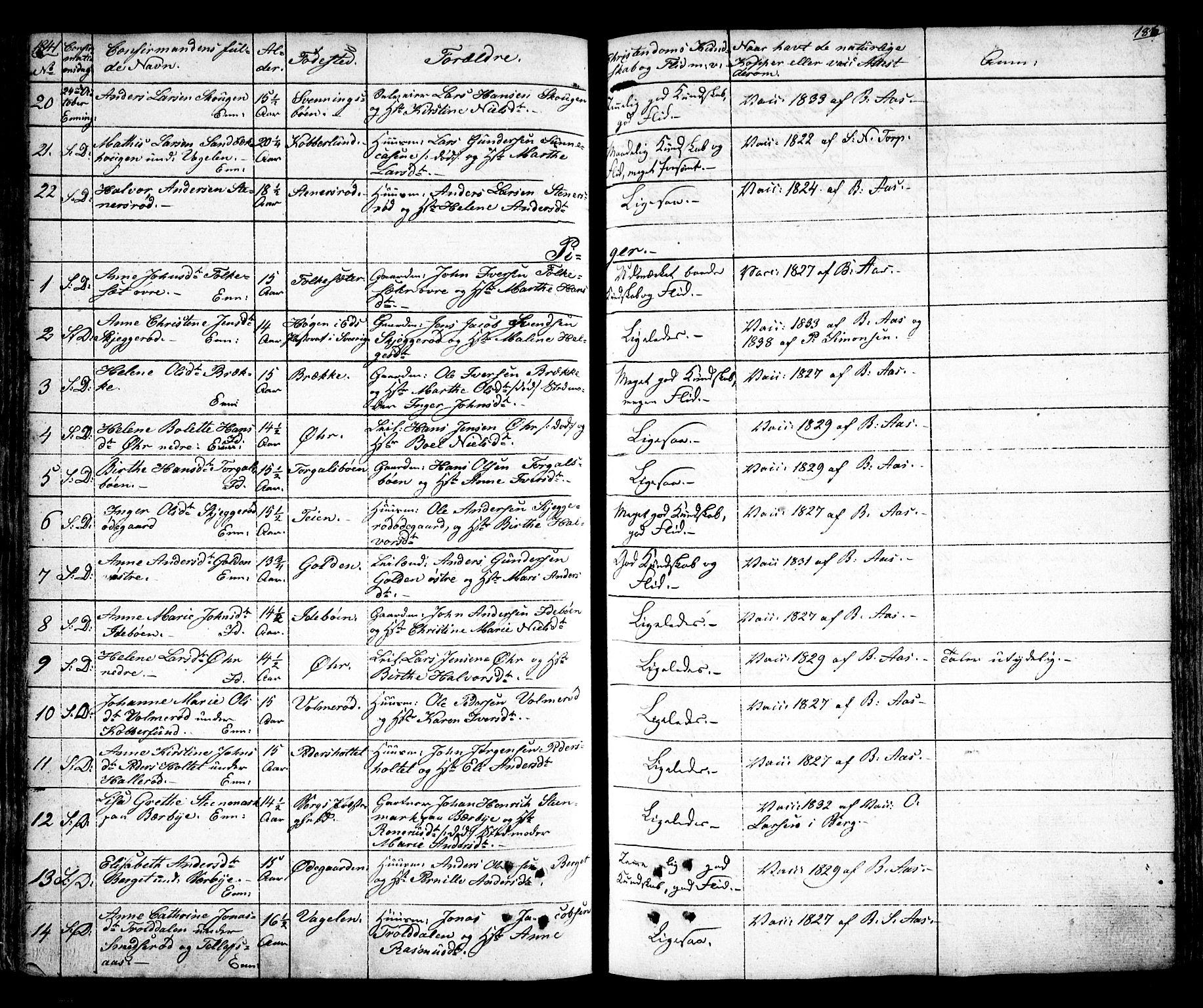 SAO, Idd prestekontor Kirkebøker, F/Fc/L0003: Ministerialbok nr. III 3, 1832-1847, s. 186