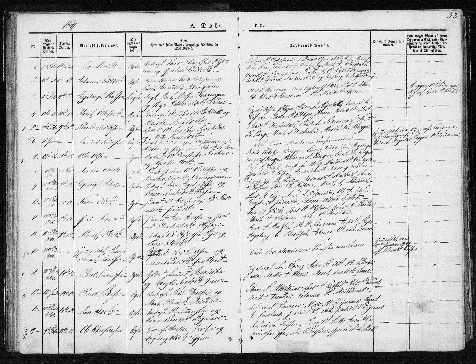 SAT, Ministerialprotokoller, klokkerbøker og fødselsregistre - Sør-Trøndelag, 668/L0805: Ministerialbok nr. 668A05, 1840-1853, s. 53