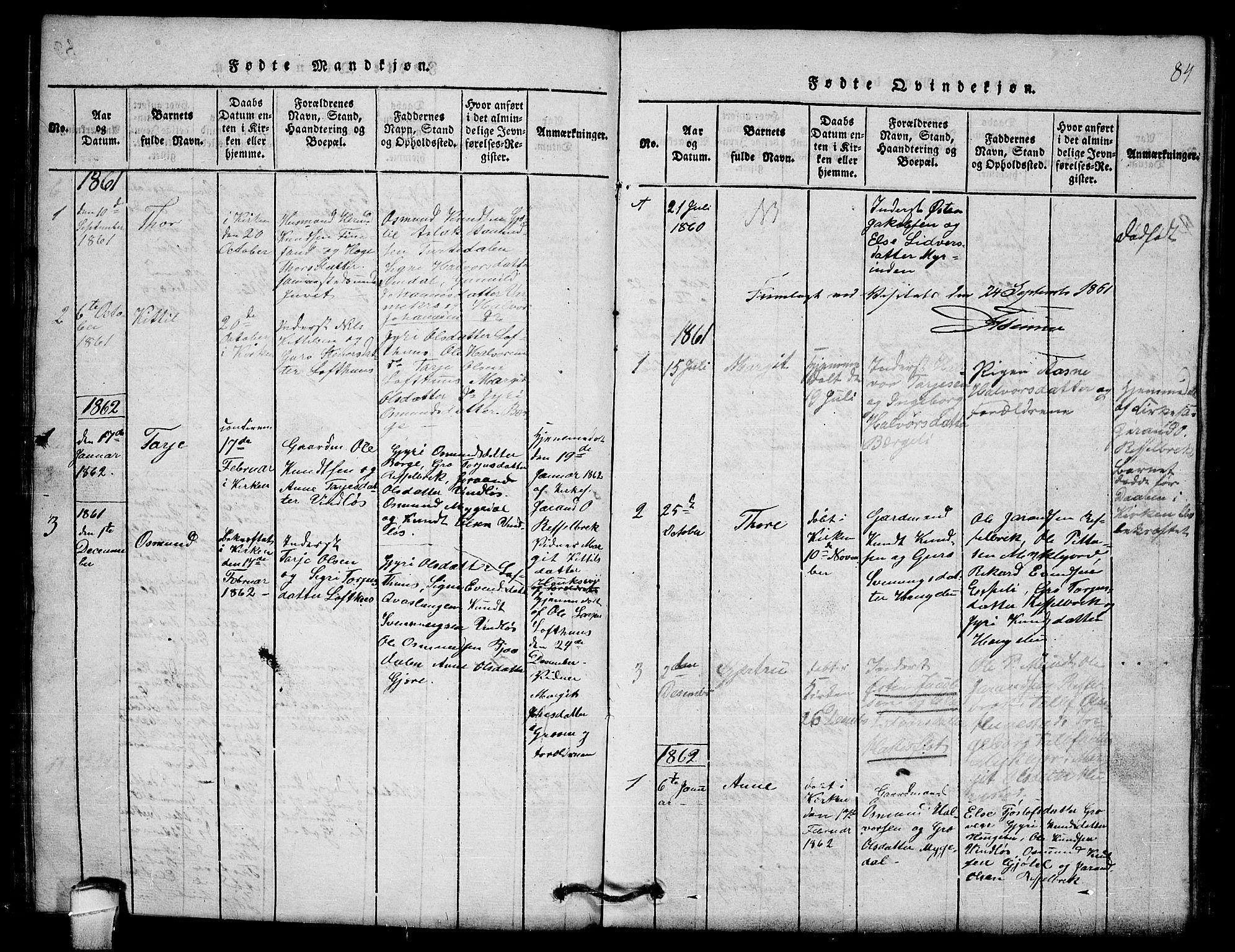 SAKO, Lårdal kirkebøker, G/Gb/L0001: Klokkerbok nr. II 1, 1815-1865, s. 84