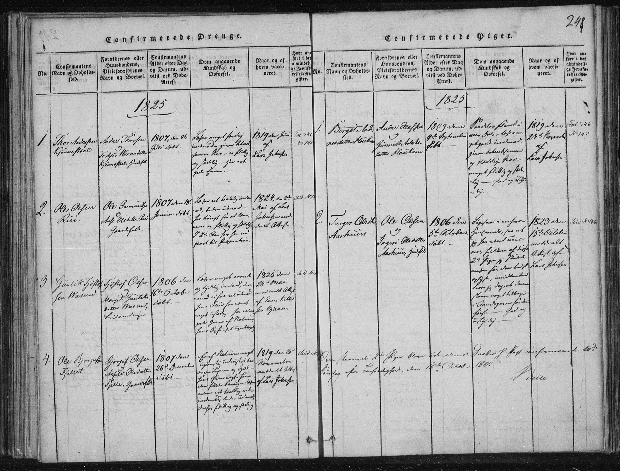 SAKO, Lårdal kirkebøker, F/Fc/L0001: Ministerialbok nr. III 1, 1815-1860, s. 248
