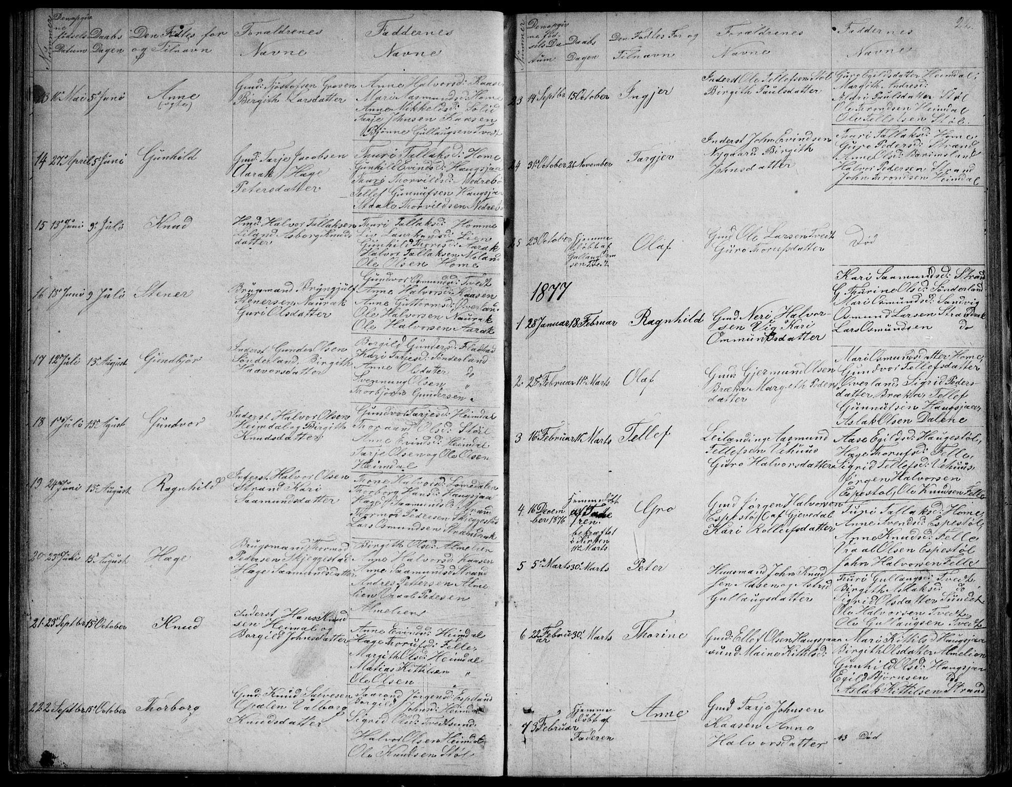 SAKO, Nissedal kirkebøker, G/Gb/L0002: Klokkerbok nr. II 2, 1863-1892, s. 22