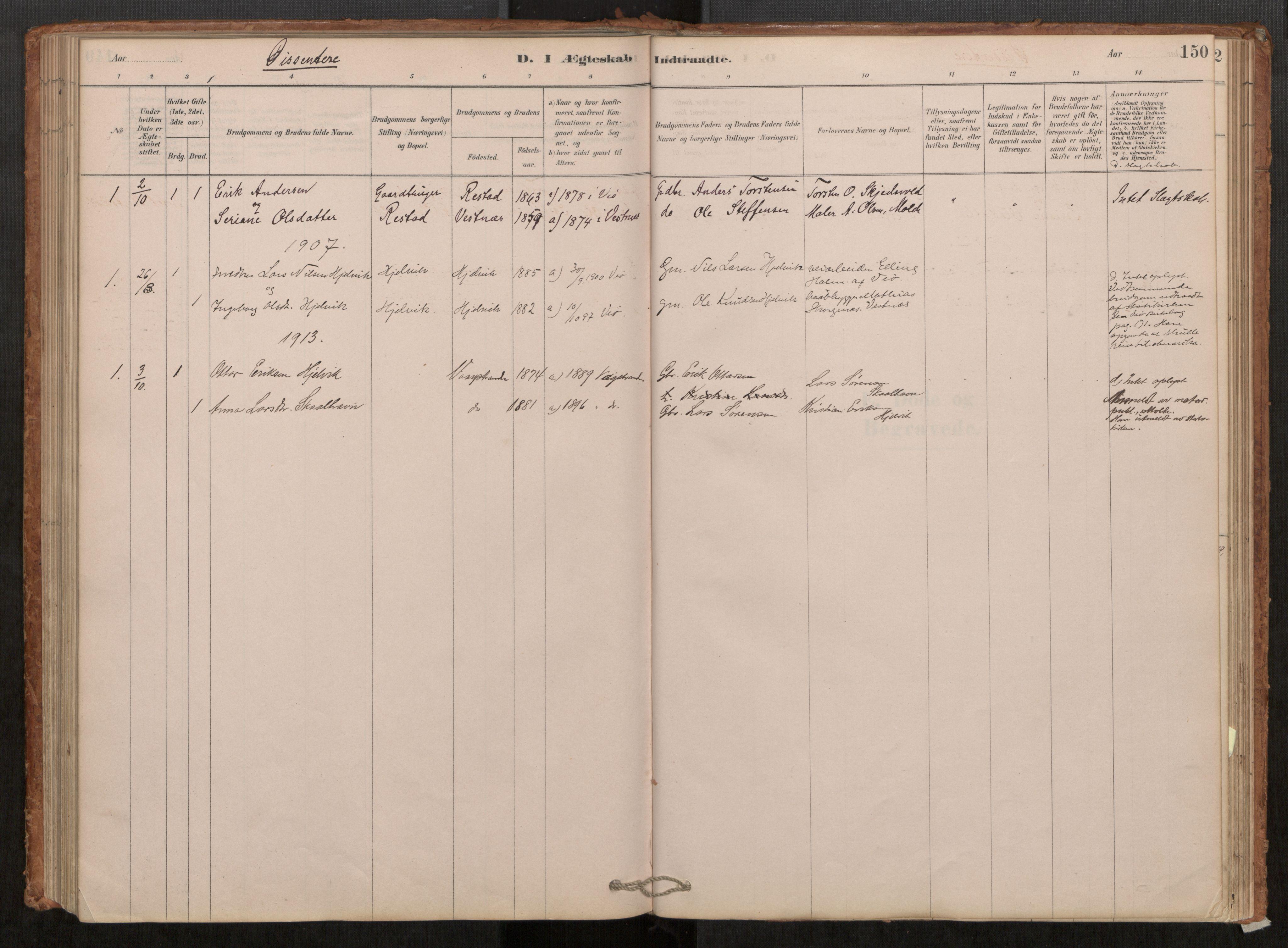 SAT, Grytten sokneprestkontor, Ministerialbok nr. 550A01, 1878-1915, s. 150