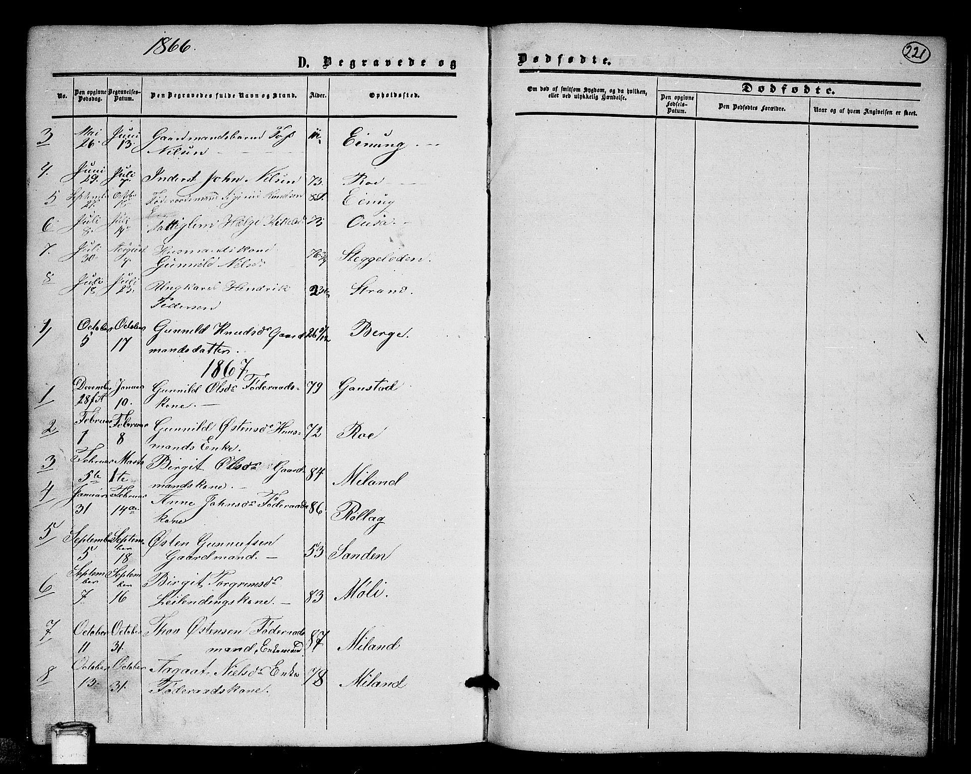 SAKO, Tinn kirkebøker, G/Gb/L0002: Klokkerbok nr. II 2, 1851-1886, s. 221