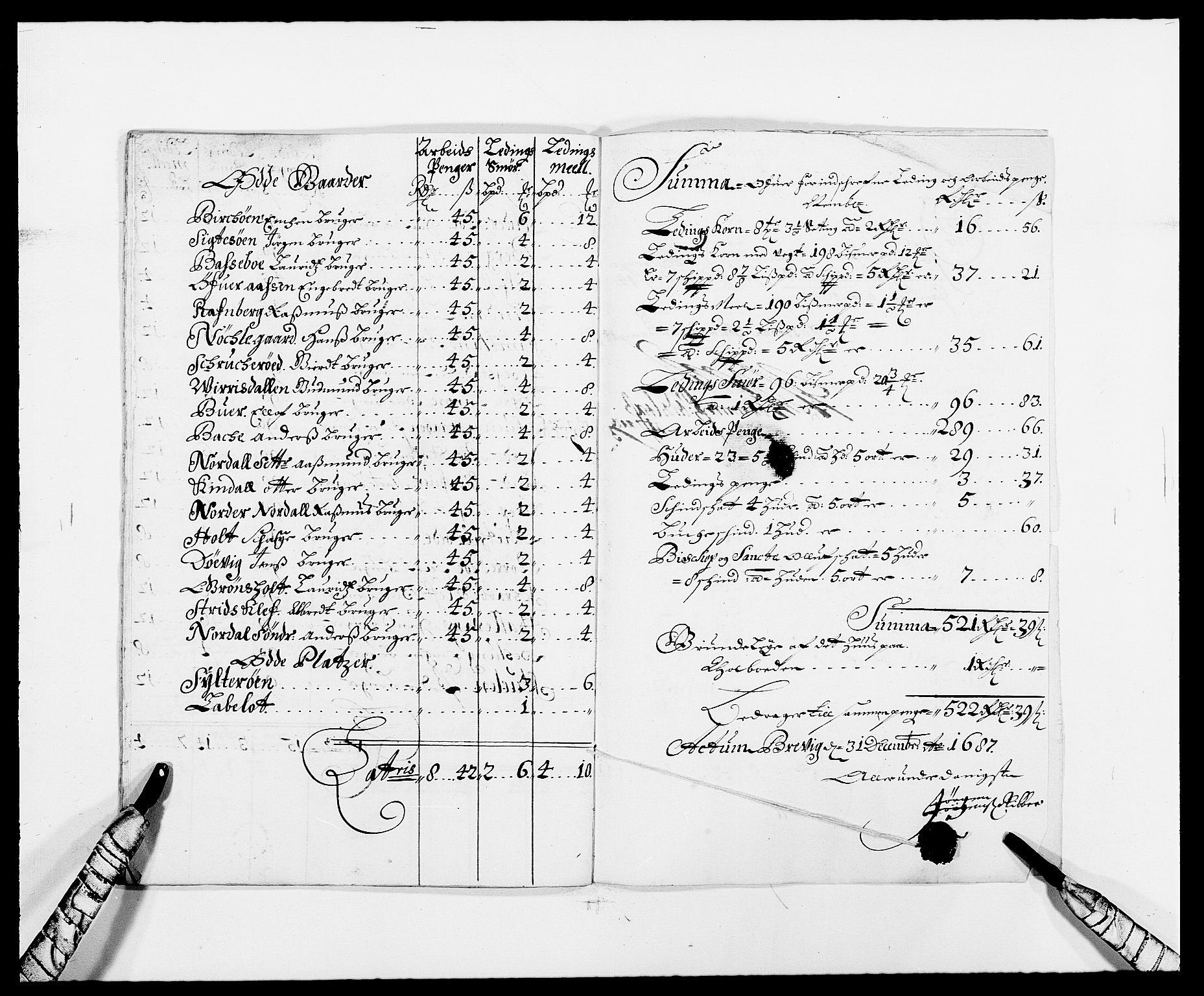 RA, Rentekammeret inntil 1814, Reviderte regnskaper, Fogderegnskap, R34/L2049: Fogderegnskap Bamble, 1685-1687, s. 226