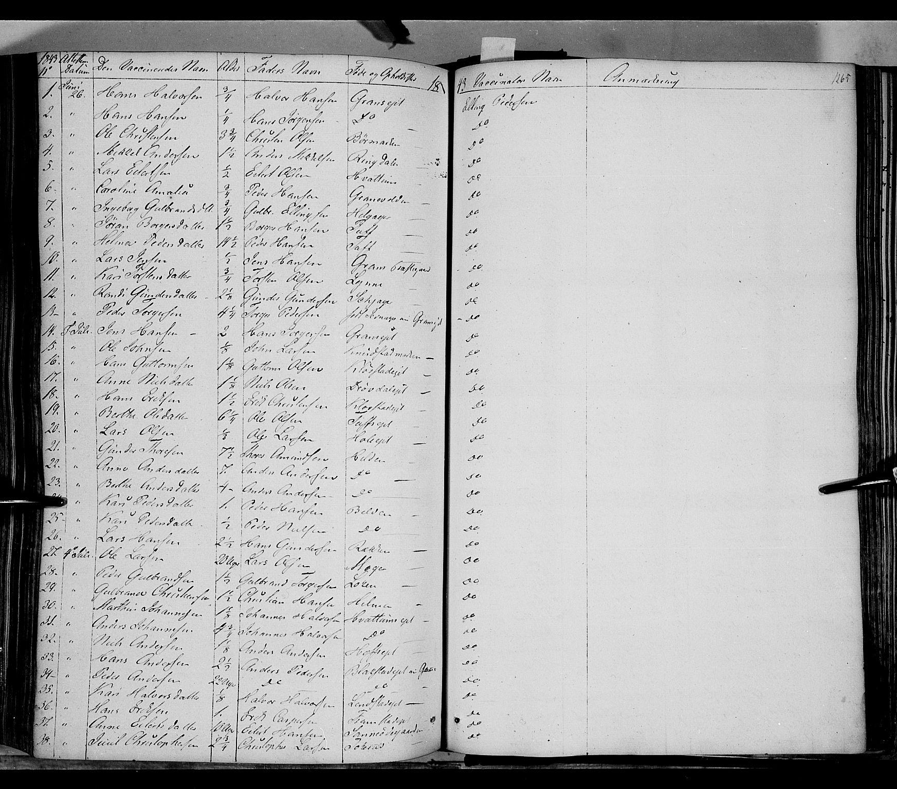SAH, Gran prestekontor, Ministerialbok nr. 11, 1842-1856, s. 1264-1265