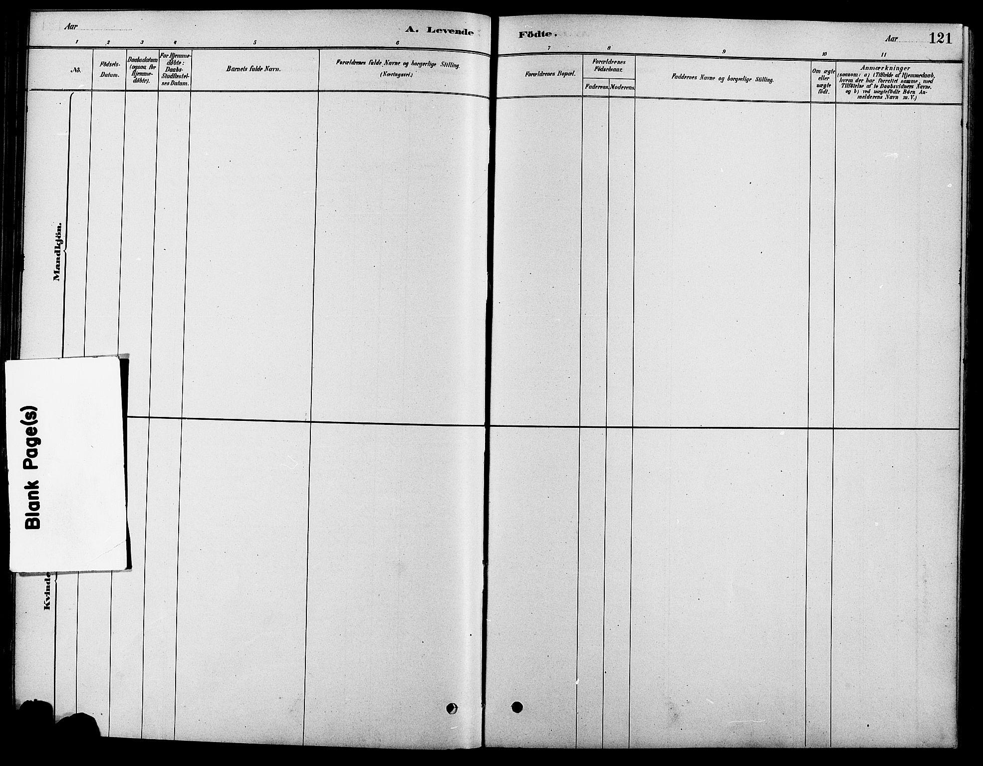 SAH, Fåberg prestekontor, Ministerialbok nr. 8, 1879-1898, s. 121