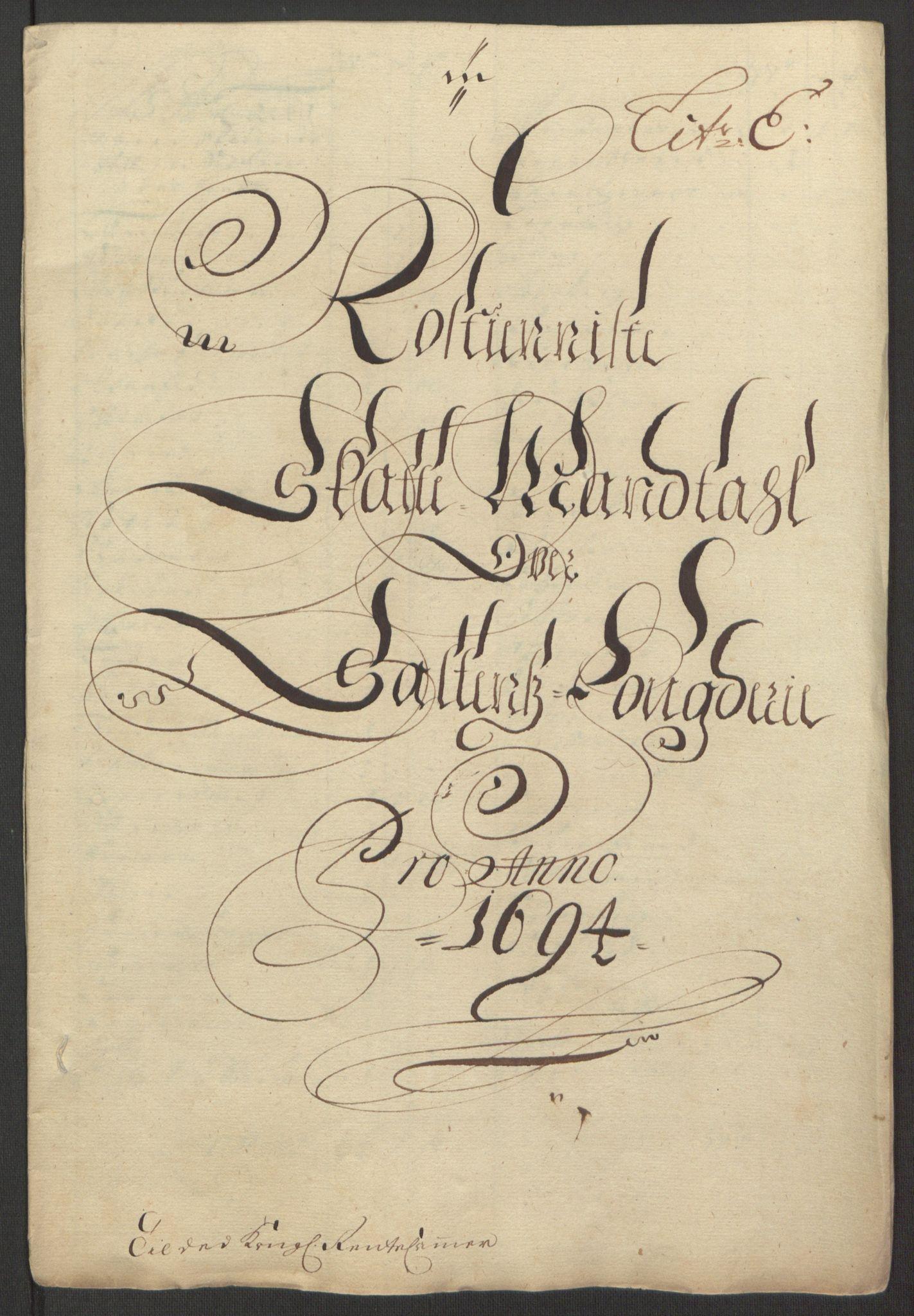 RA, Rentekammeret inntil 1814, Reviderte regnskaper, Fogderegnskap, R66/L4578: Fogderegnskap Salten, 1694-1696, s. 74