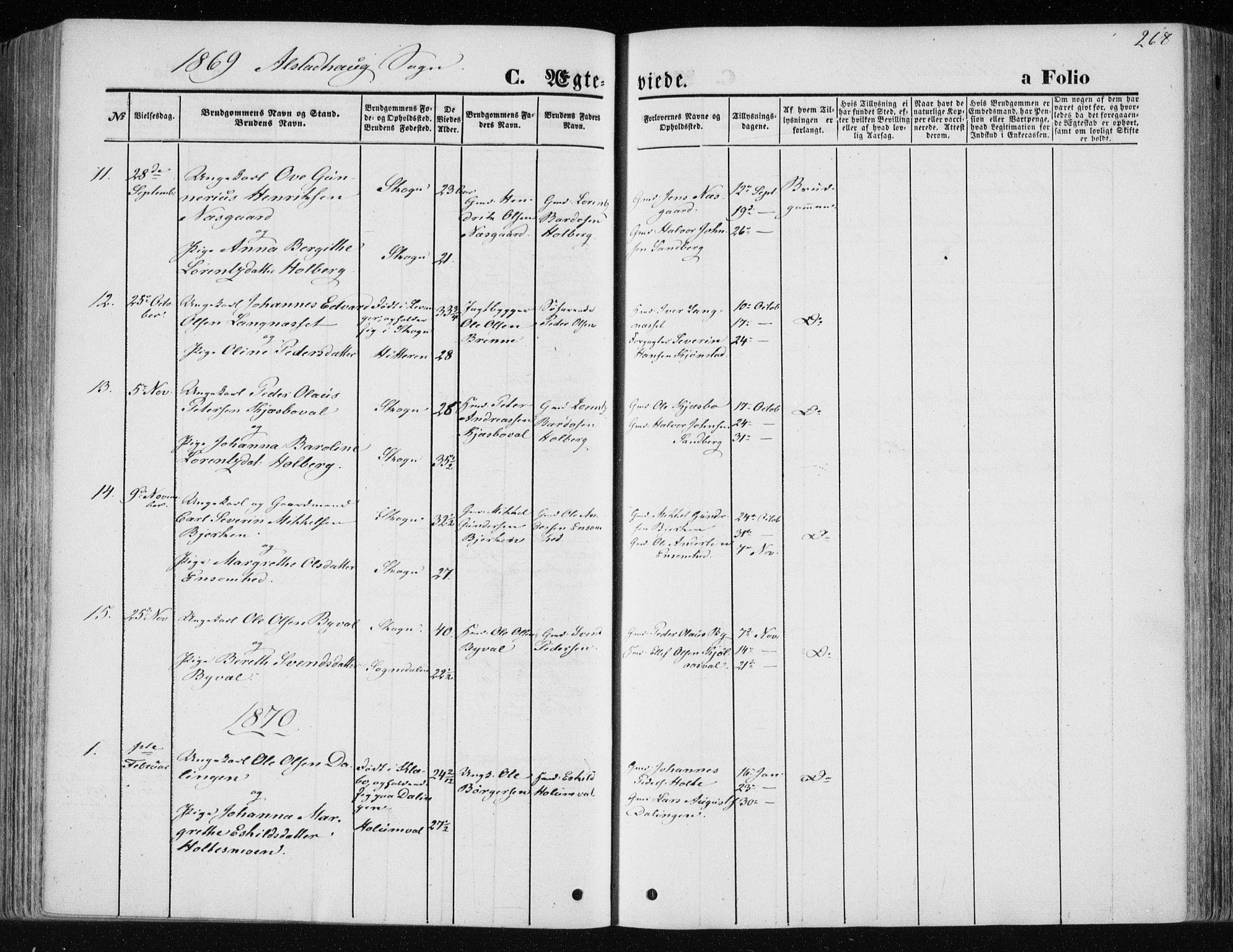 SAT, Ministerialprotokoller, klokkerbøker og fødselsregistre - Nord-Trøndelag, 717/L0157: Ministerialbok nr. 717A08 /1, 1863-1877, s. 268