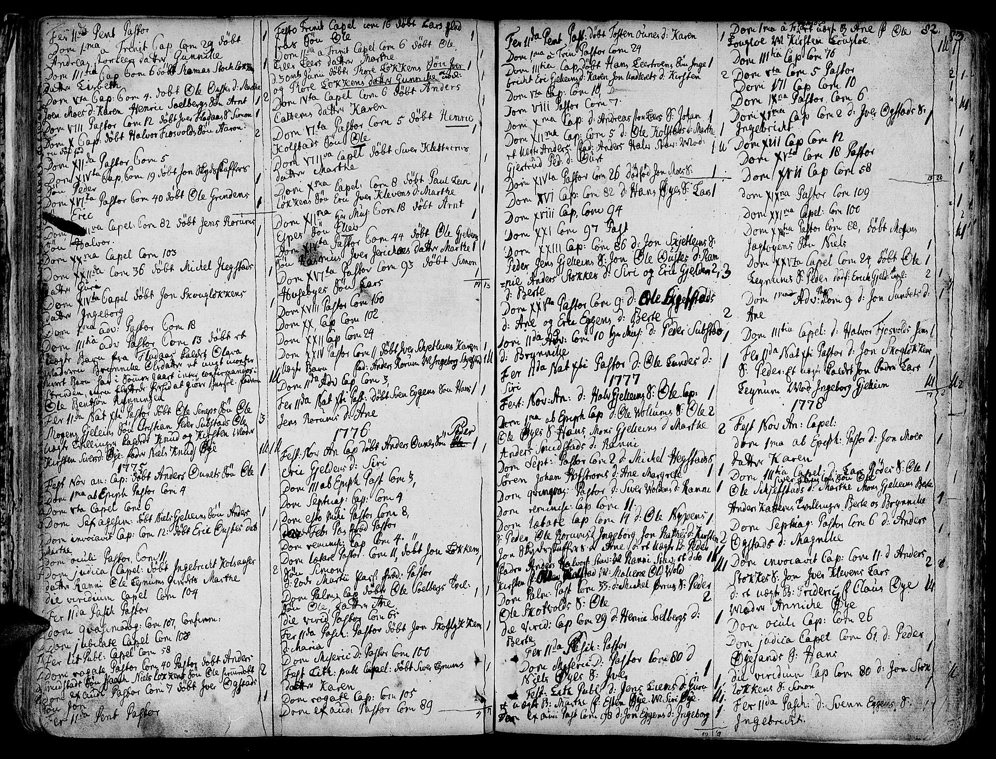 SAT, Ministerialprotokoller, klokkerbøker og fødselsregistre - Sør-Trøndelag, 691/L1063: Ministerialbok nr. 691A02 /3, 1768-1815, s. 82