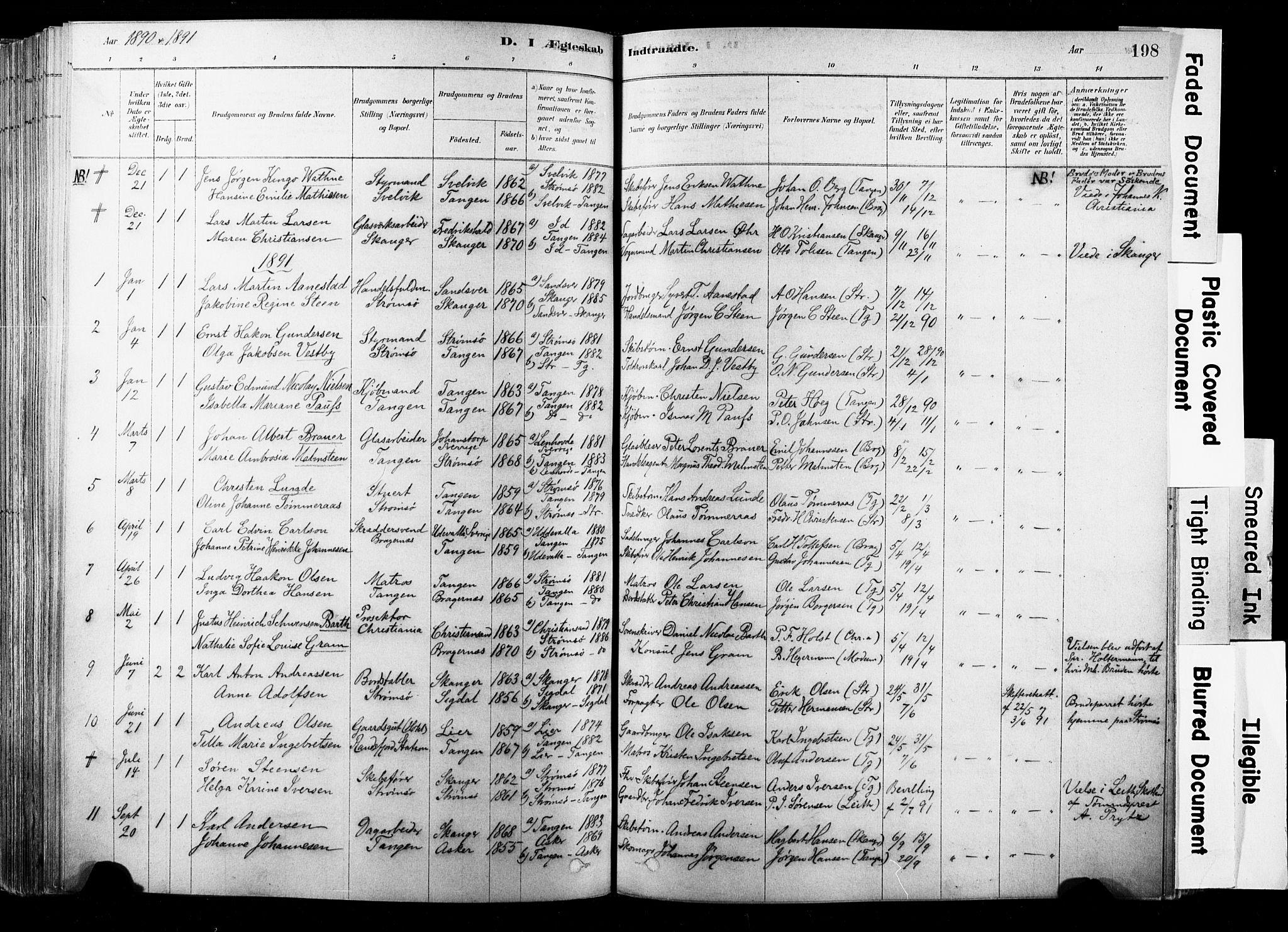 SAKO, Strømsø kirkebøker, F/Fb/L0006: Ministerialbok nr. II 6, 1879-1910, s. 198