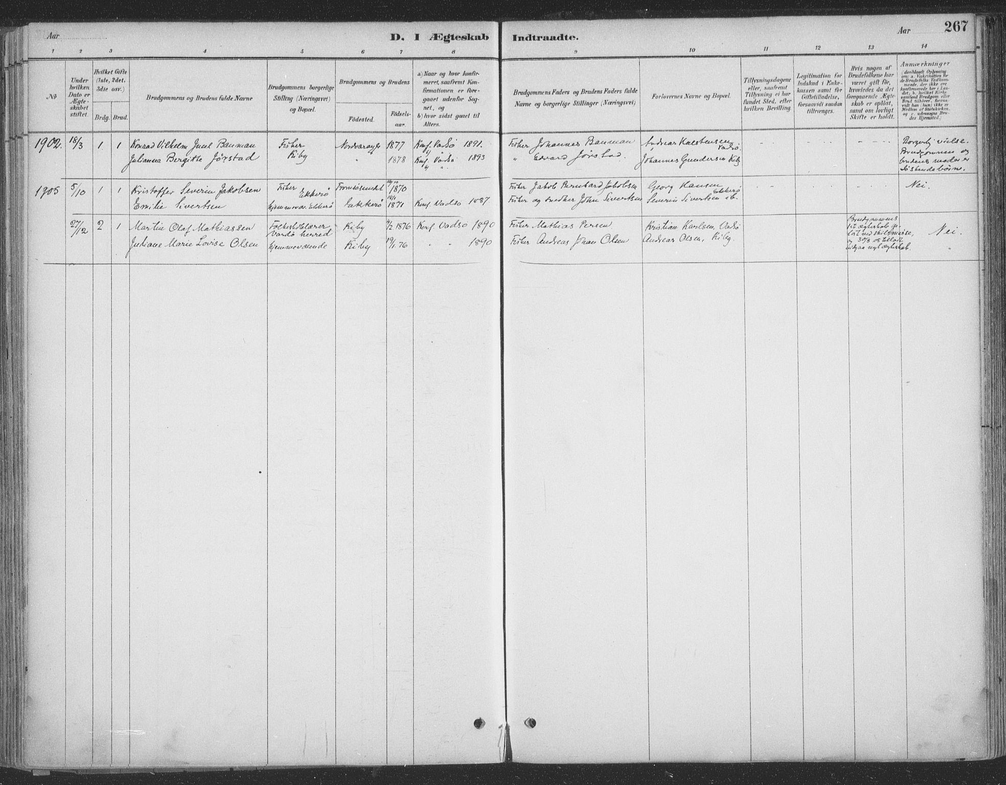 SATØ, Vadsø sokneprestkontor, H/Ha/L0009kirke: Ministerialbok nr. 9, 1881-1917, s. 267