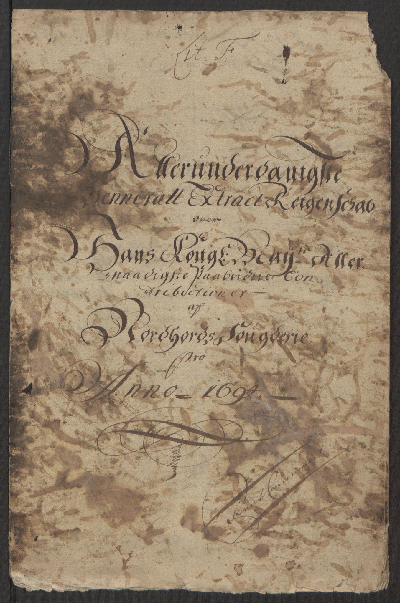 RA, Rentekammeret inntil 1814, Reviderte regnskaper, Fogderegnskap, R51/L3182: Fogderegnskap Nordhordland og Voss, 1694, s. 4