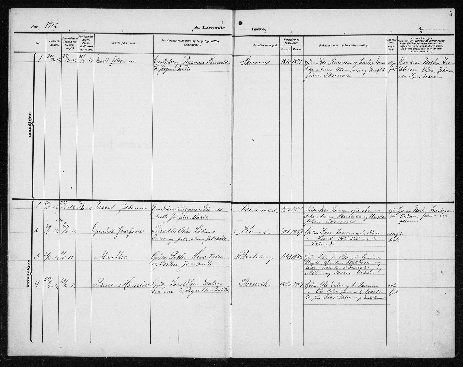 SAT, Ministerialprotokoller, klokkerbøker og fødselsregistre - Sør-Trøndelag, 608/L0342: Klokkerbok nr. 608C08, 1912-1938, s. 5