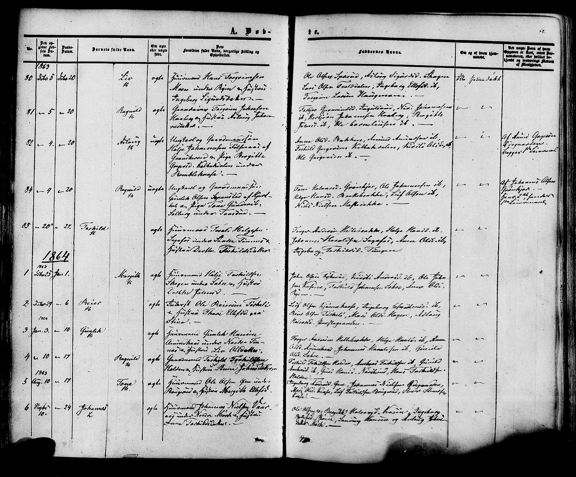 SAKO, Heddal kirkebøker, F/Fa/L0007: Ministerialbok nr. I 7, 1855-1877, s. 62