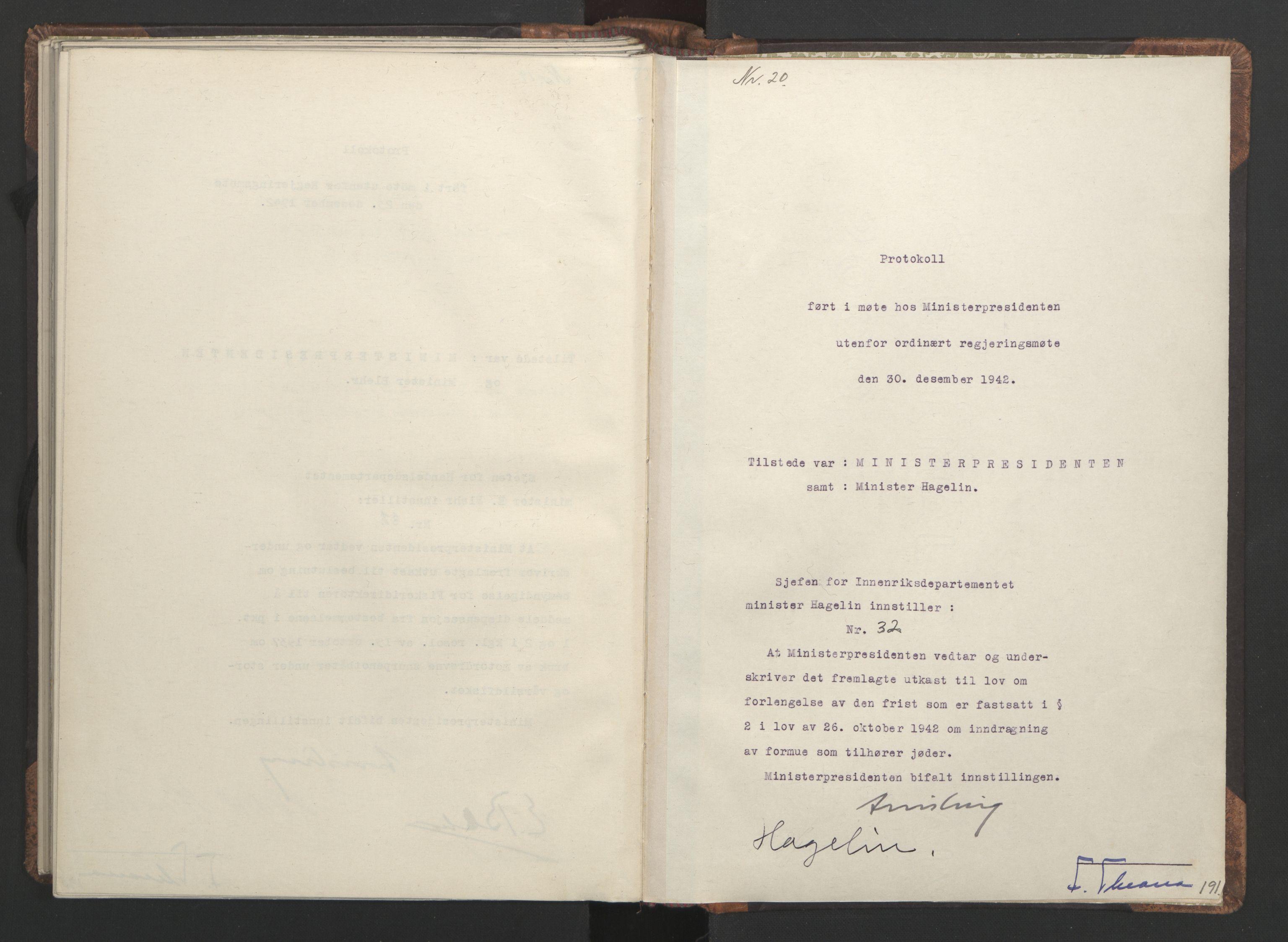 RA, NS-administrasjonen 1940-1945 (Statsrådsekretariatet, de kommisariske statsråder mm), D/Da/L0001: Beslutninger og tillegg (1-952 og 1-32), 1942, s. 190b-191a