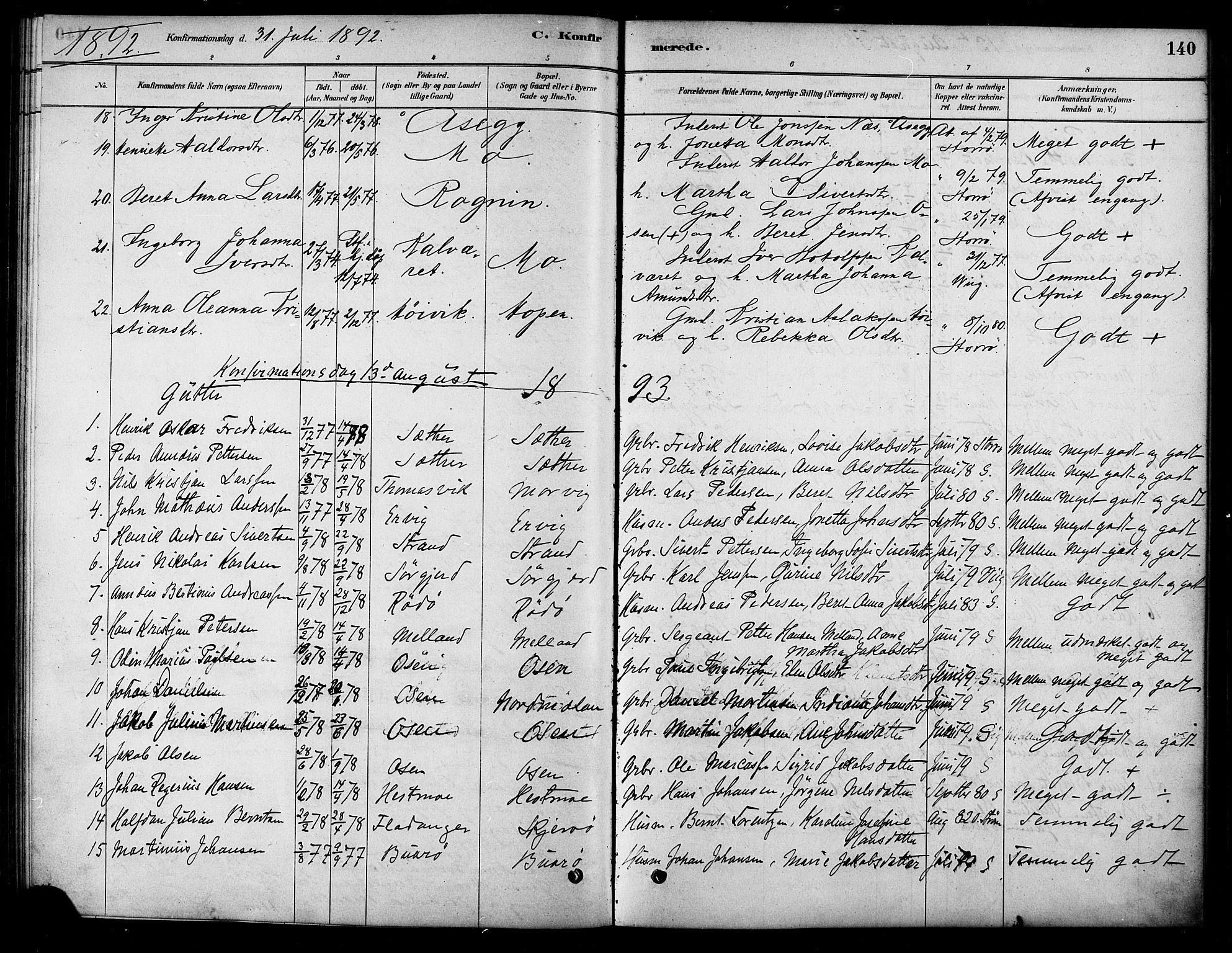 SAT, Ministerialprotokoller, klokkerbøker og fødselsregistre - Sør-Trøndelag, 658/L0722: Ministerialbok nr. 658A01, 1879-1896, s. 140