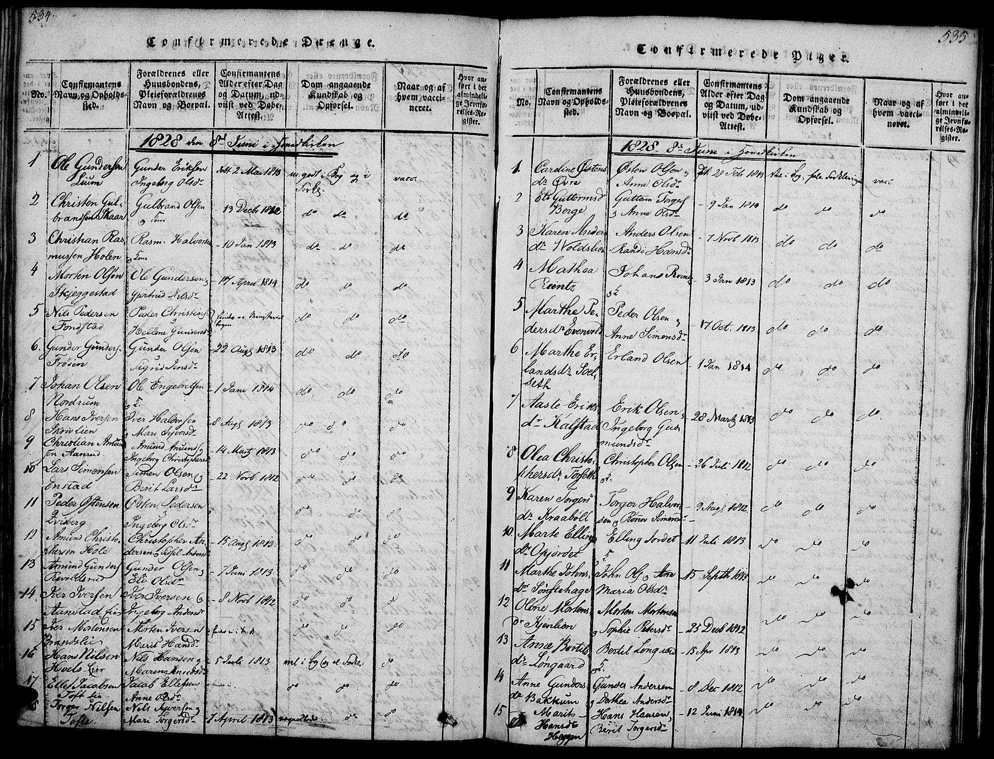 SAH, Gausdal prestekontor, Ministerialbok nr. 5, 1817-1829, s. 534-535