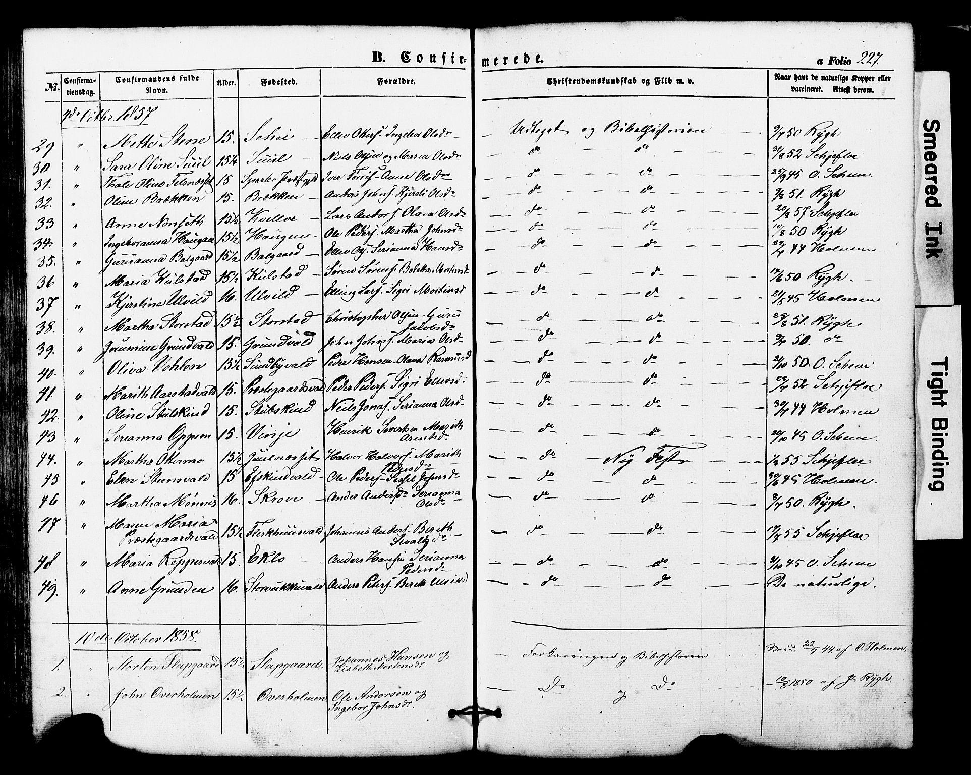 SAT, Ministerialprotokoller, klokkerbøker og fødselsregistre - Nord-Trøndelag, 724/L0268: Klokkerbok nr. 724C04, 1846-1878, s. 227