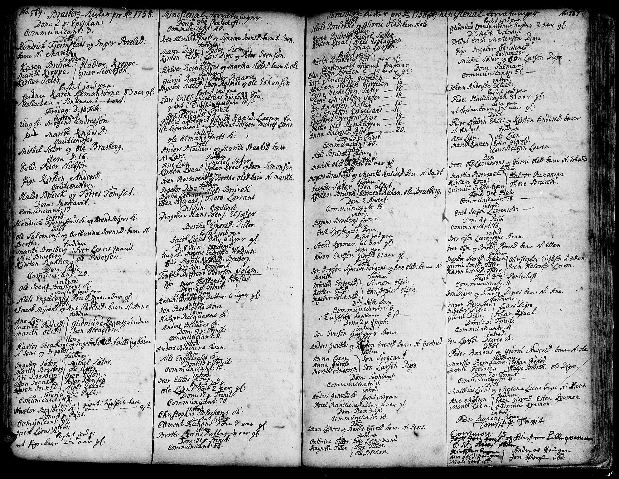 SAT, Ministerialprotokoller, klokkerbøker og fødselsregistre - Sør-Trøndelag, 606/L0278: Ministerialbok nr. 606A01 /4, 1727-1780, s. 564-565