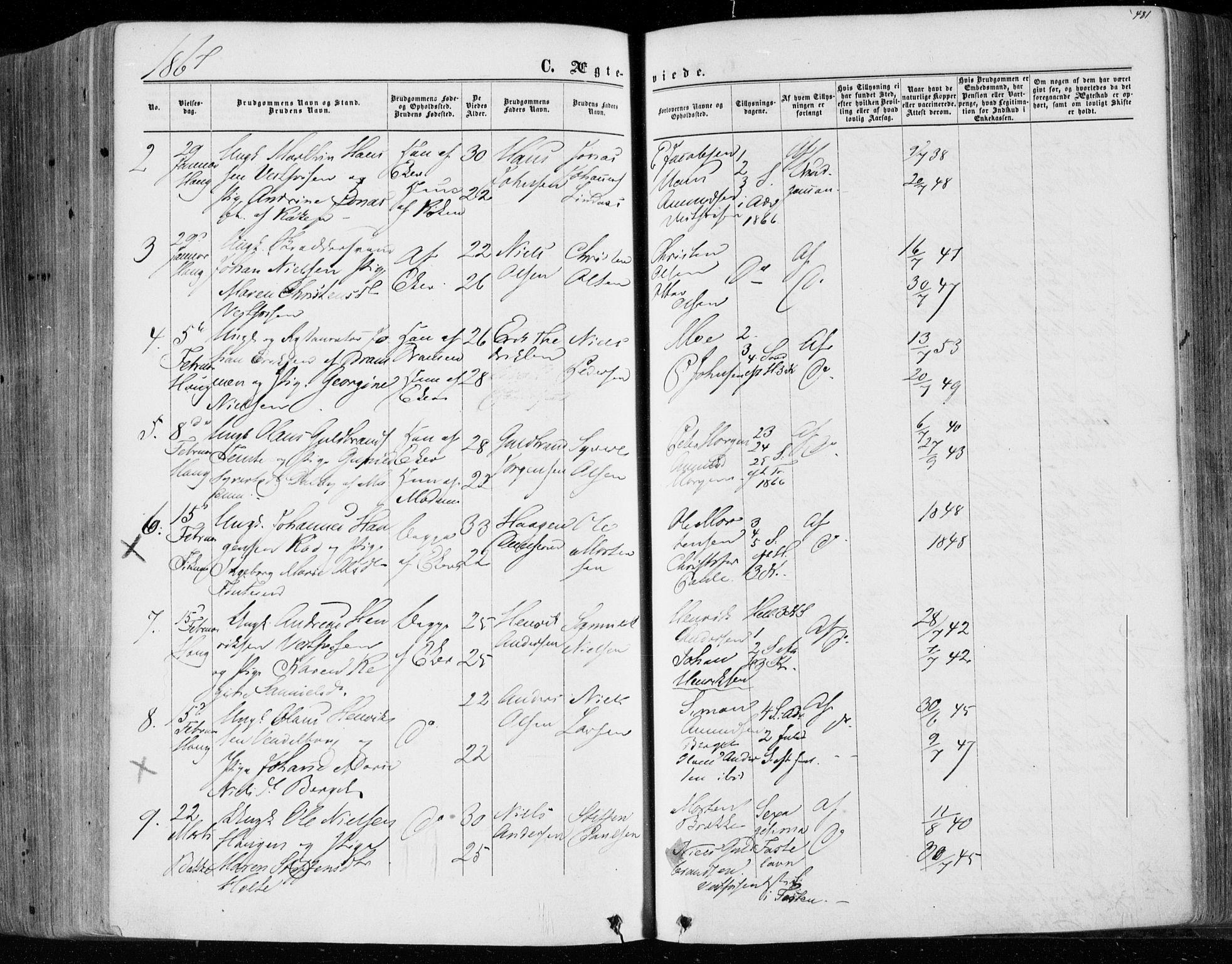 SAKO, Eiker kirkebøker, F/Fa/L0016: Ministerialbok nr. 16, 1860-1868, s. 481