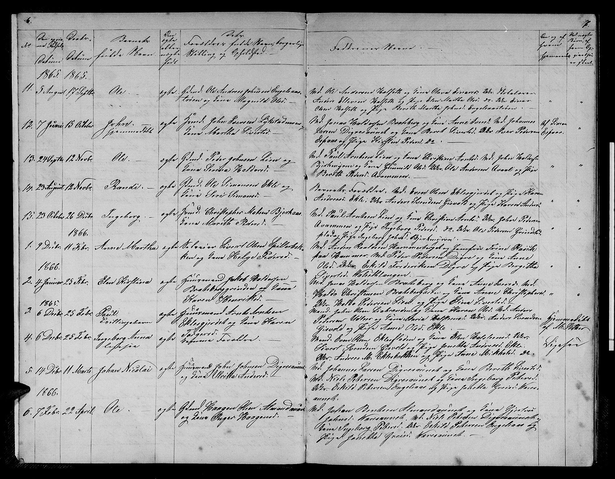 SAT, Ministerialprotokoller, klokkerbøker og fødselsregistre - Sør-Trøndelag, 608/L0340: Klokkerbok nr. 608C06, 1864-1889, s. 6-7