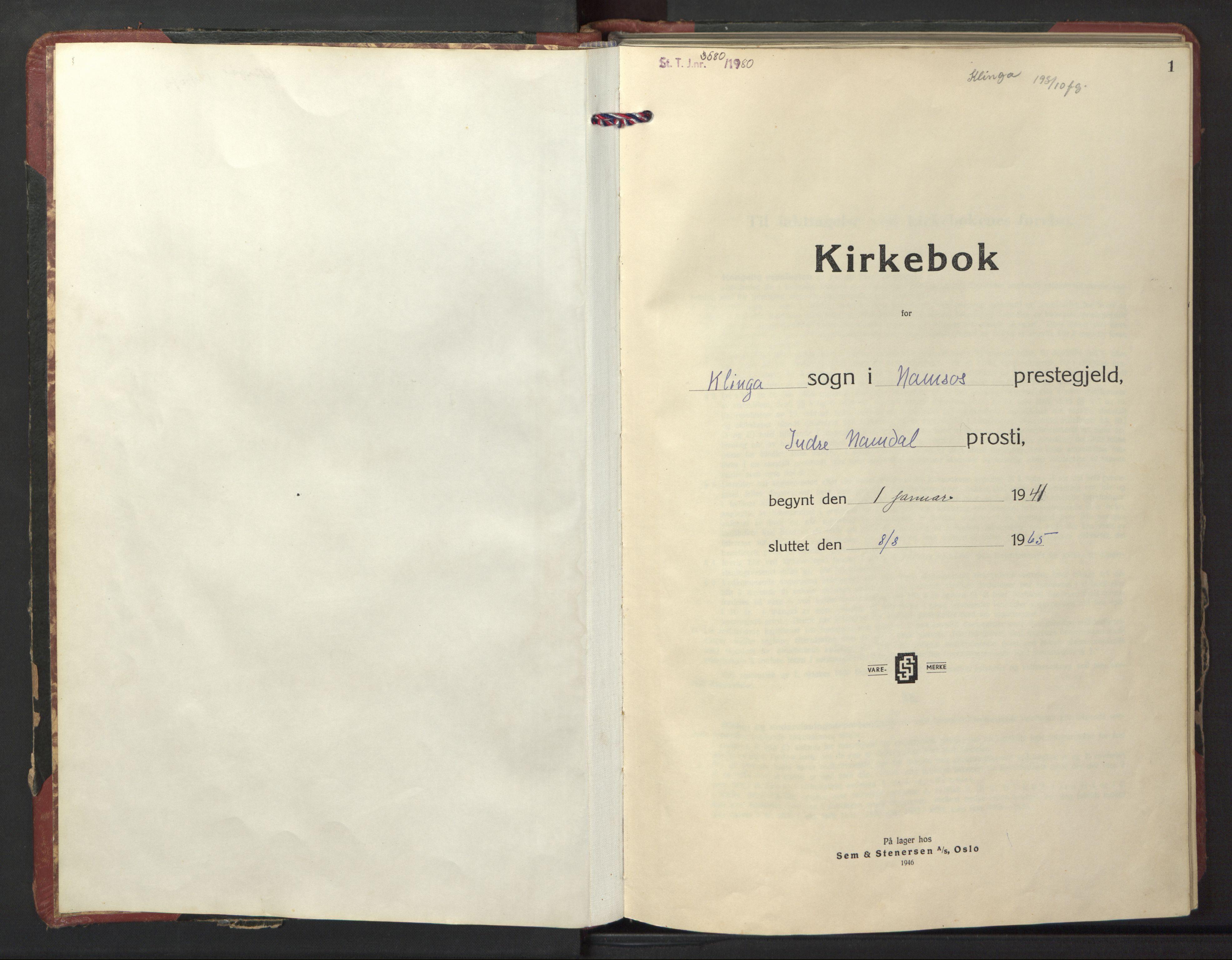 SAT, Ministerialprotokoller, klokkerbøker og fødselsregistre - Nord-Trøndelag, 770/L0592: Klokkerbok nr. 770C03, 1941-1950, s. 1