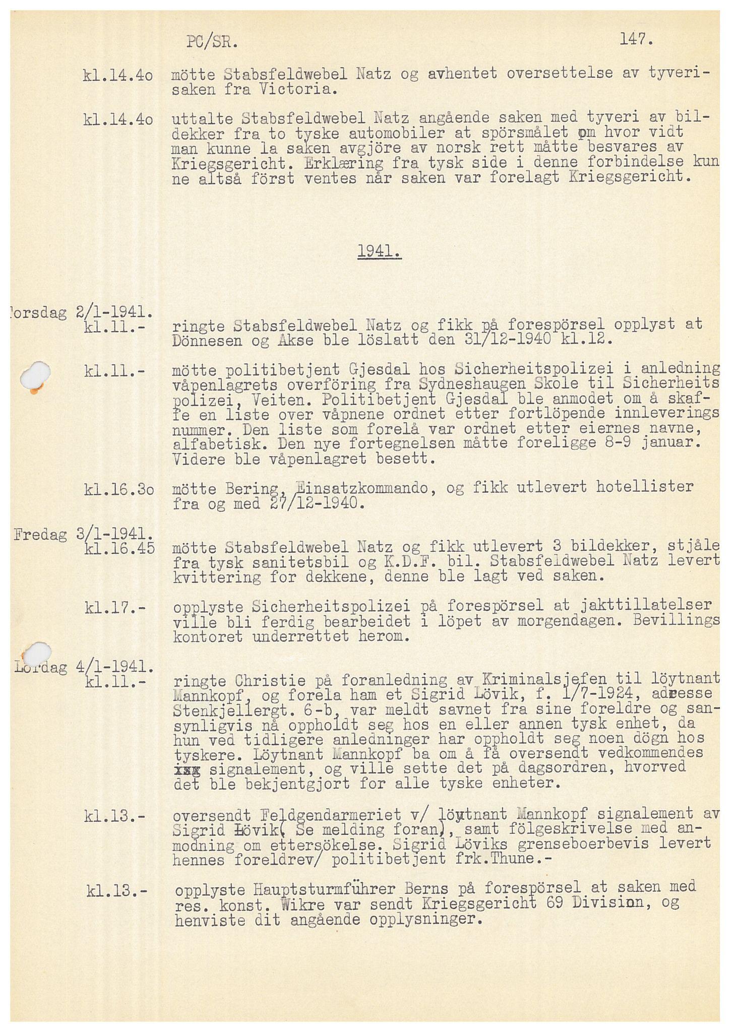 SAB, Bergen politidistrikt, Y/Ye/L0001: Avskrift av krigsdagbok av Dankert Thuland, 1940-1941, s. 147