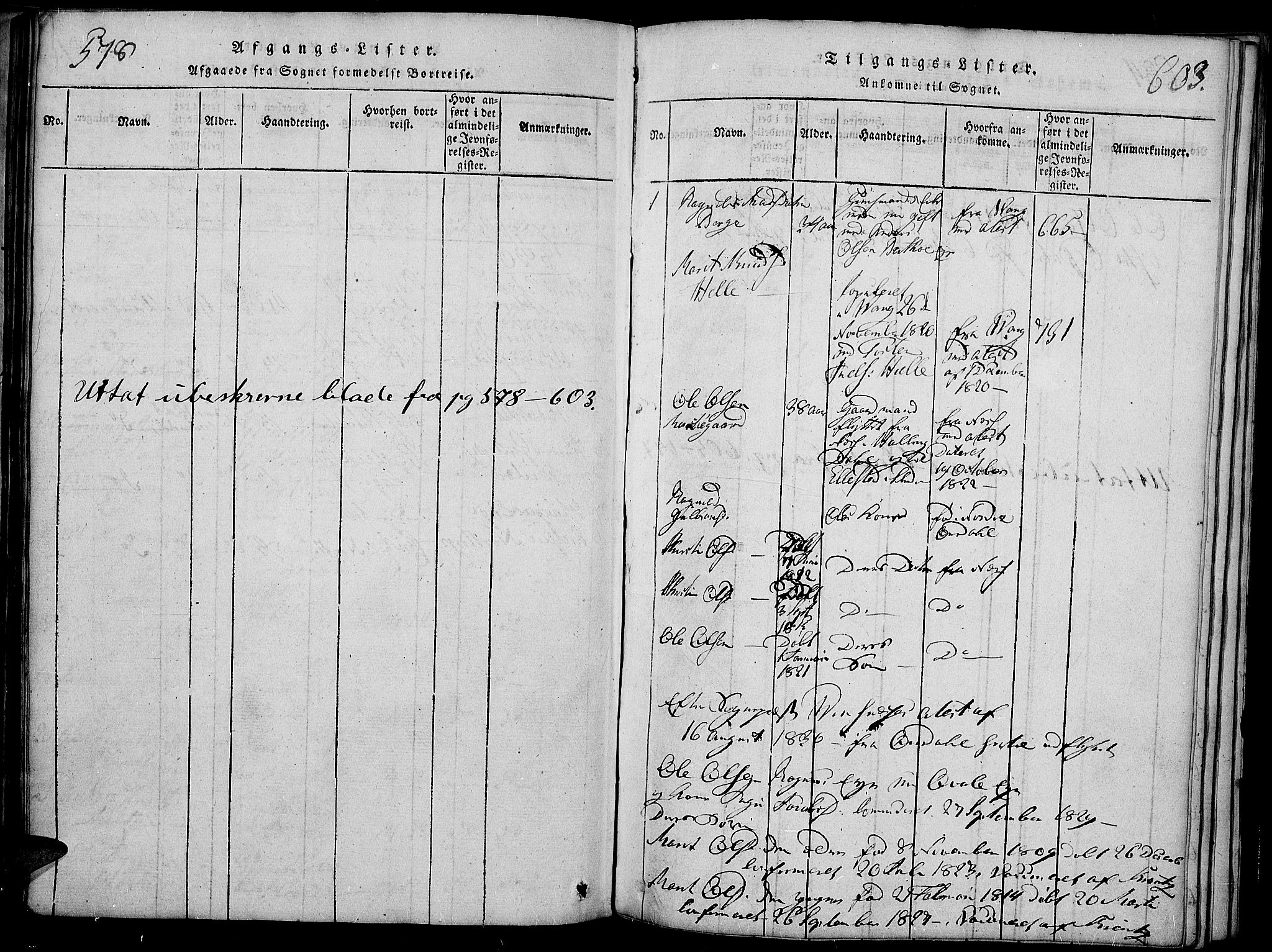 SAH, Slidre prestekontor, Ministerialbok nr. 2, 1814-1830, s. 578-603