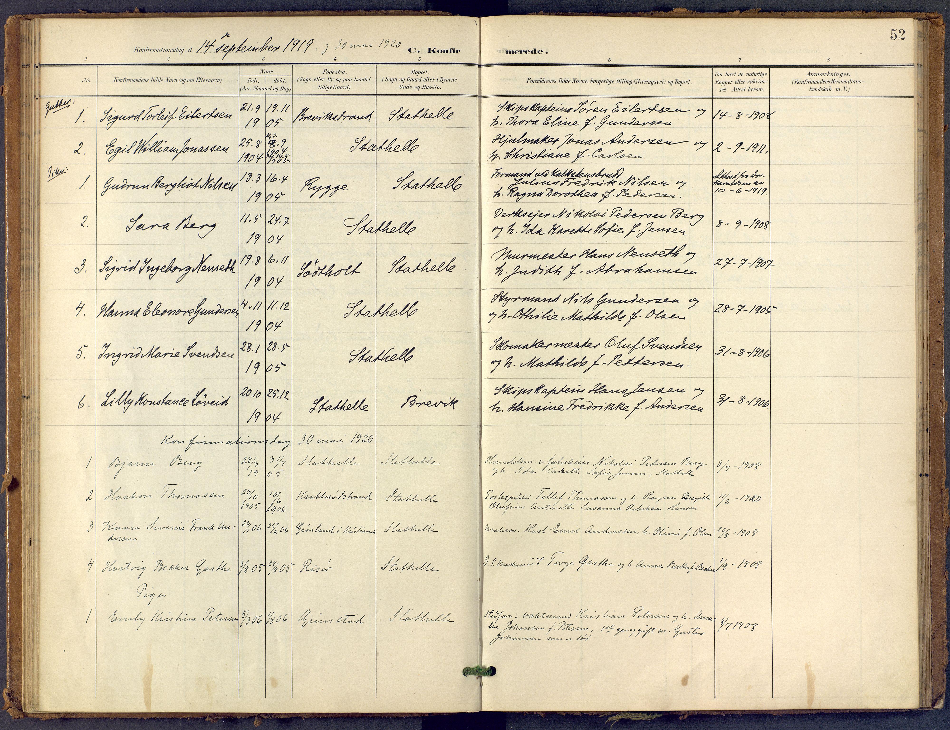 SAKO, Bamble kirkebøker, F/Fb/L0002: Ministerialbok nr. II 2, 1900-1921, s. 52