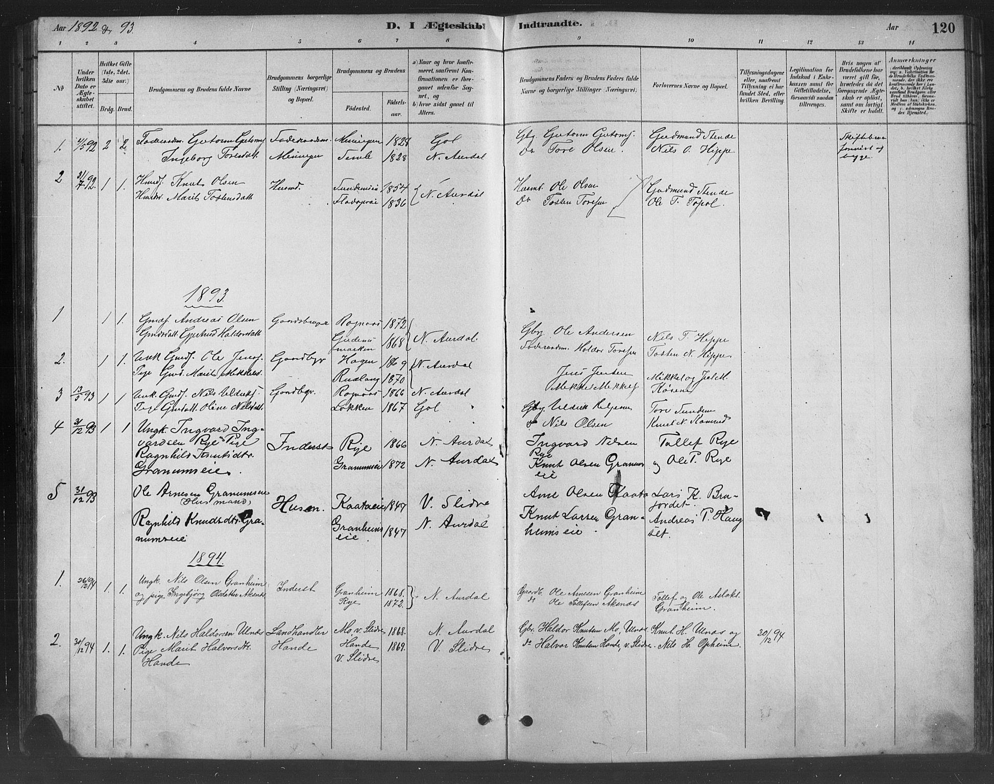 SAH, Nord-Aurdal prestekontor, Klokkerbok nr. 8, 1883-1916, s. 120