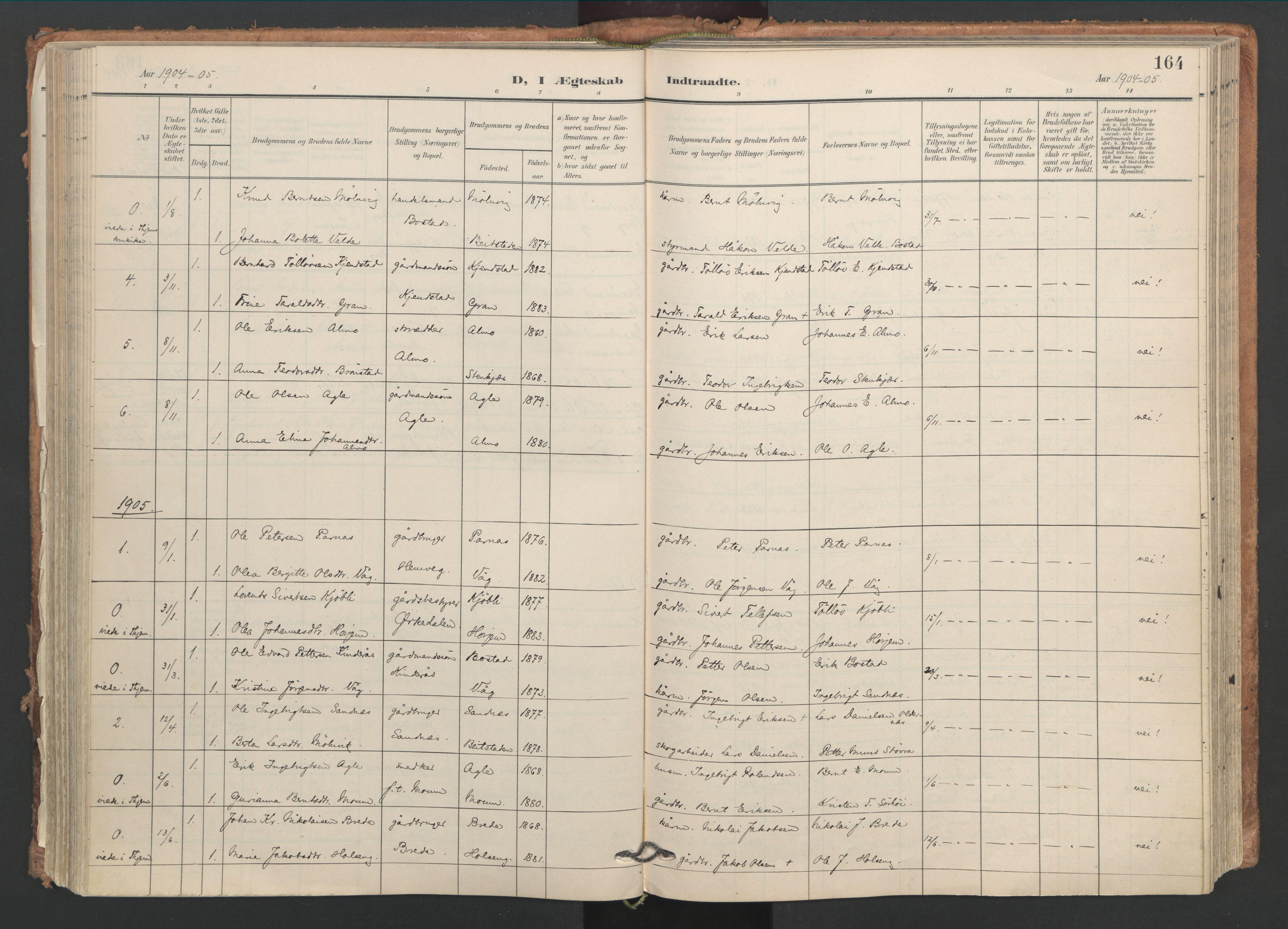 SAT, Ministerialprotokoller, klokkerbøker og fødselsregistre - Nord-Trøndelag, 749/L0477: Ministerialbok nr. 749A11, 1902-1927, s. 164