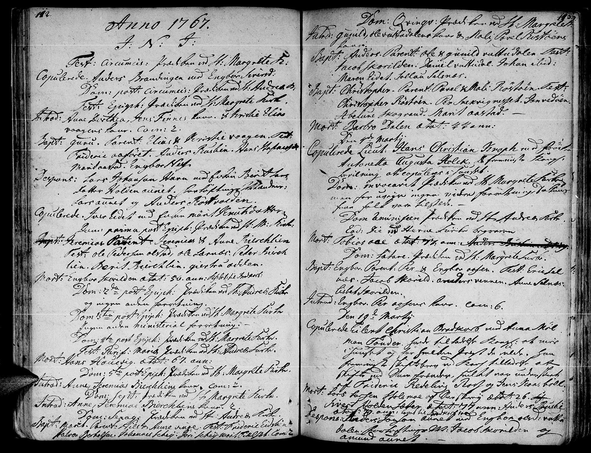 SAT, Ministerialprotokoller, klokkerbøker og fødselsregistre - Sør-Trøndelag, 630/L0489: Ministerialbok nr. 630A02, 1757-1794, s. 112-113