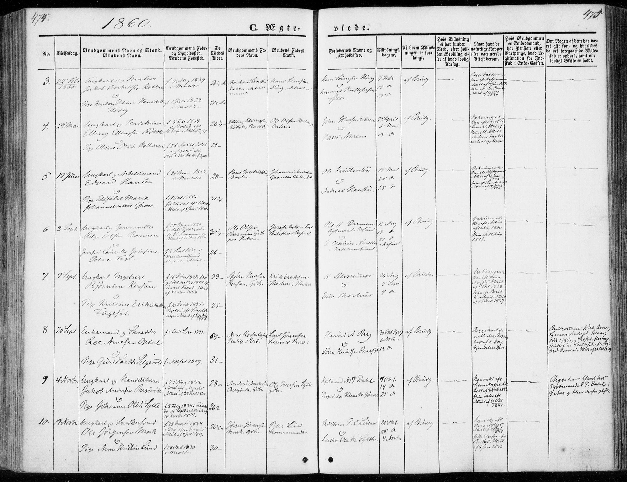 SAT, Ministerialprotokoller, klokkerbøker og fødselsregistre - Møre og Romsdal, 558/L0689: Ministerialbok nr. 558A03, 1843-1872, s. 474-475