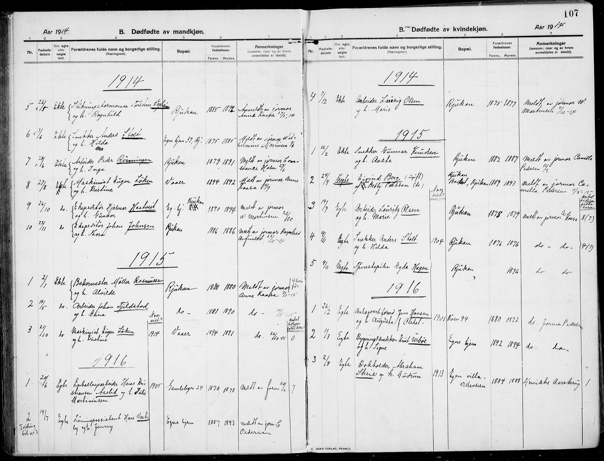 SAKO, Rjukan kirkebøker, F/Fa/L0002: Ministerialbok nr. 2, 1912-1917, s. 107