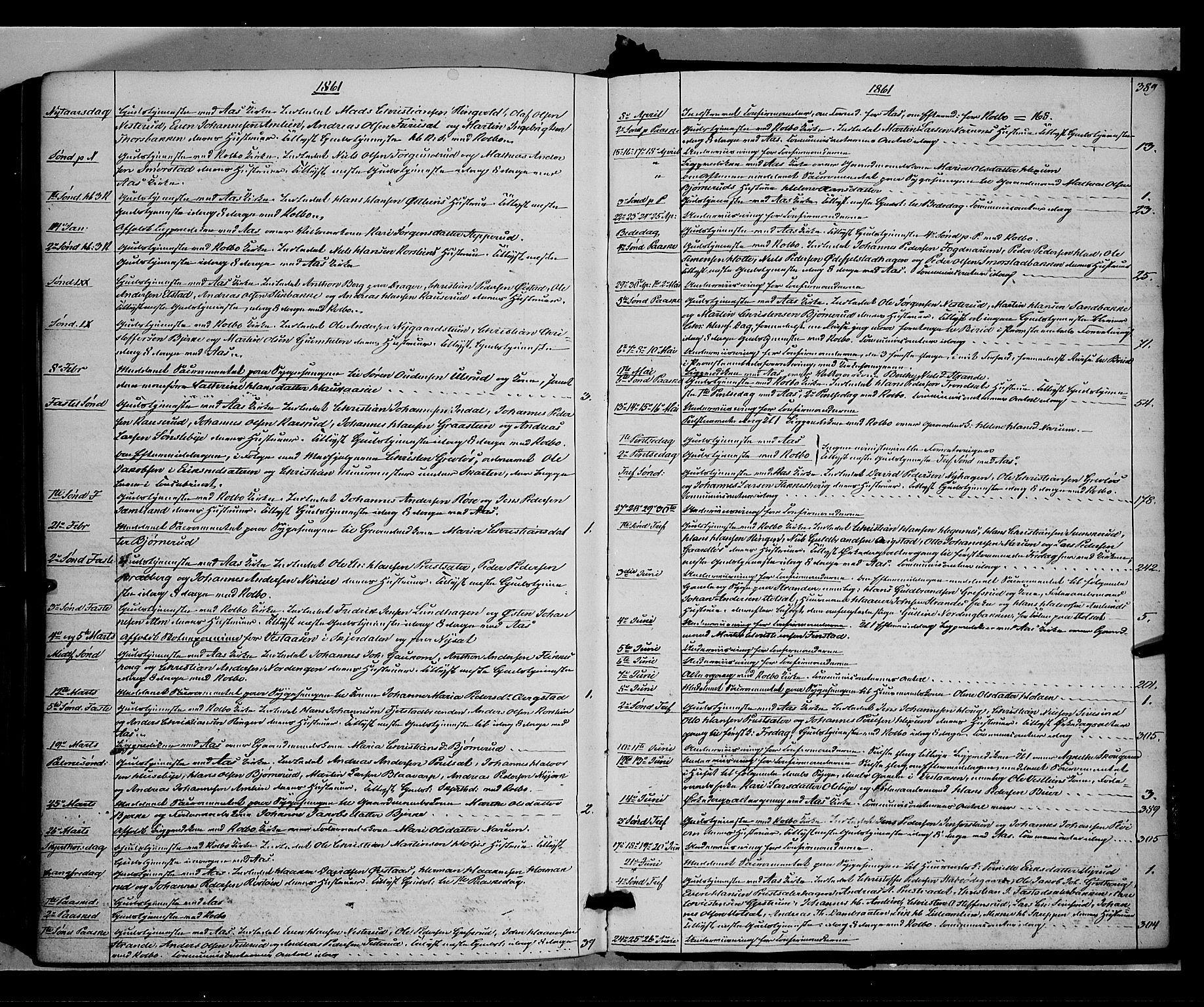 SAH, Vestre Toten prestekontor, Ministerialbok nr. 6, 1856-1861, s. 389