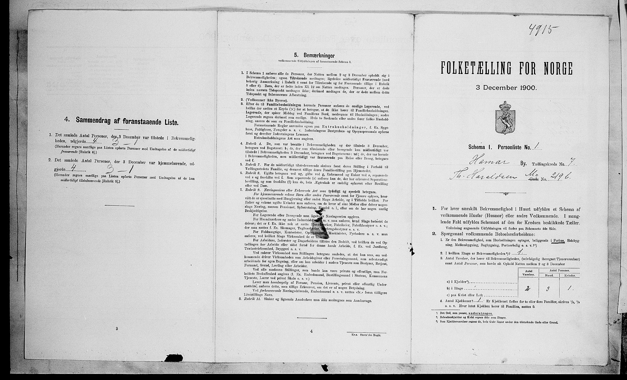 SAH, Folketelling 1900 for 0401 Hamar kjøpstad, 1900, s. 2389