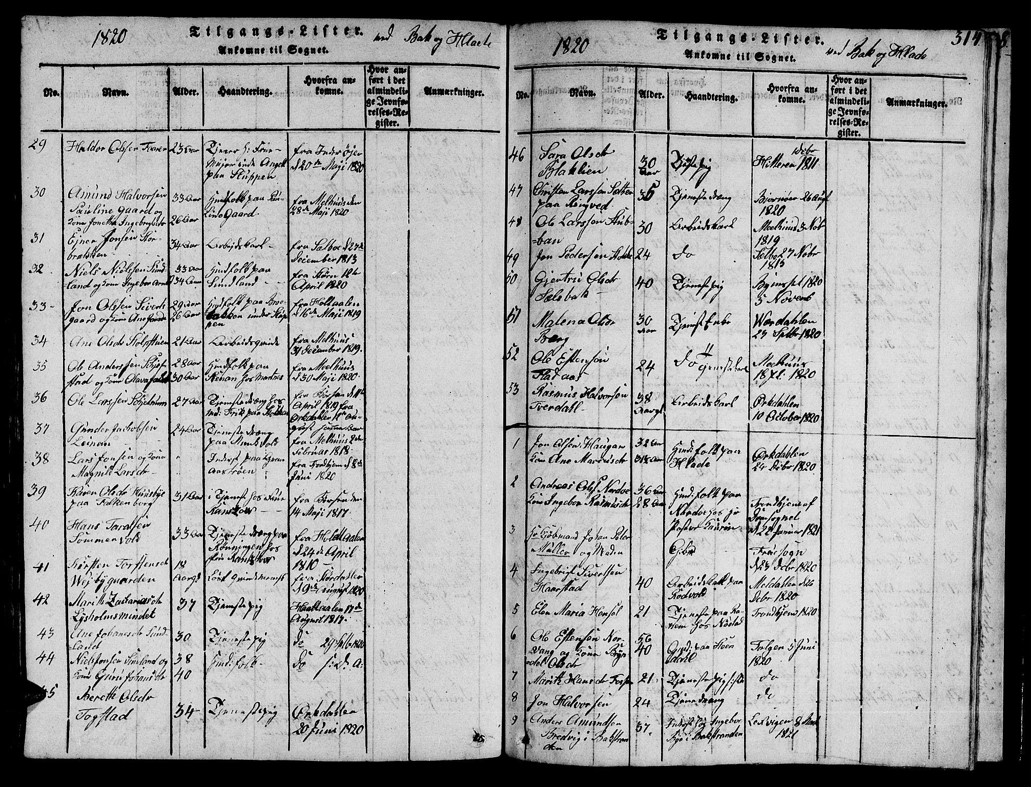 SAT, Ministerialprotokoller, klokkerbøker og fødselsregistre - Sør-Trøndelag, 606/L0307: Klokkerbok nr. 606C03, 1817-1824, s. 314