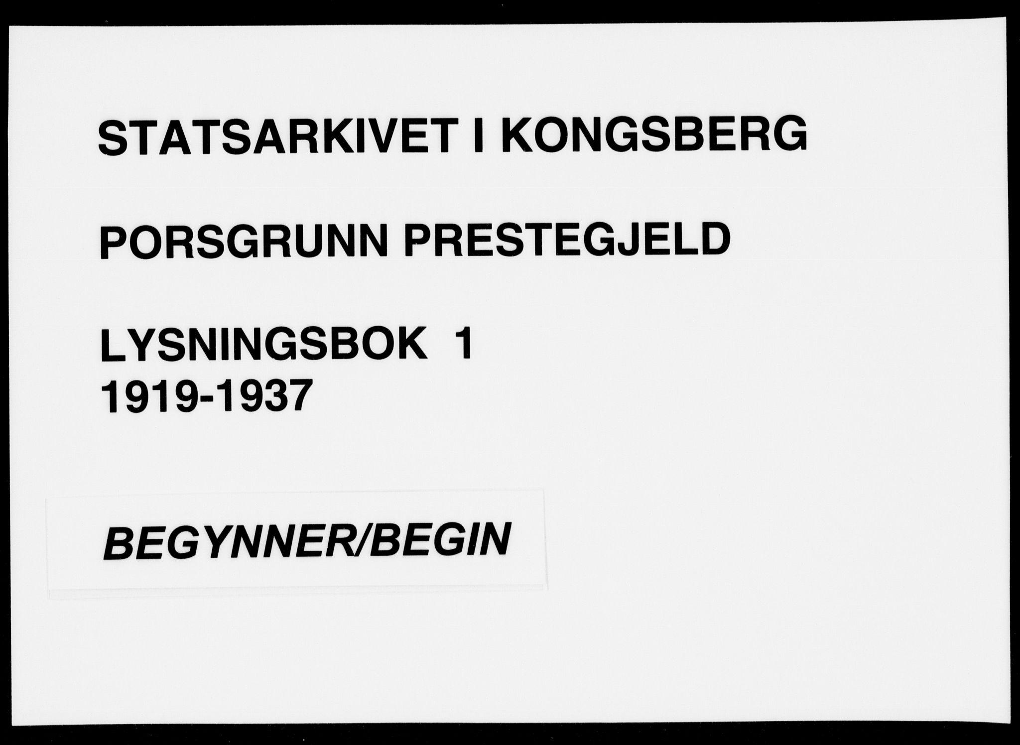 SAKO, Porsgrunn kirkebøker , H/Ha/L0001: Lysningsprotokoll nr. 1, 1919-1937