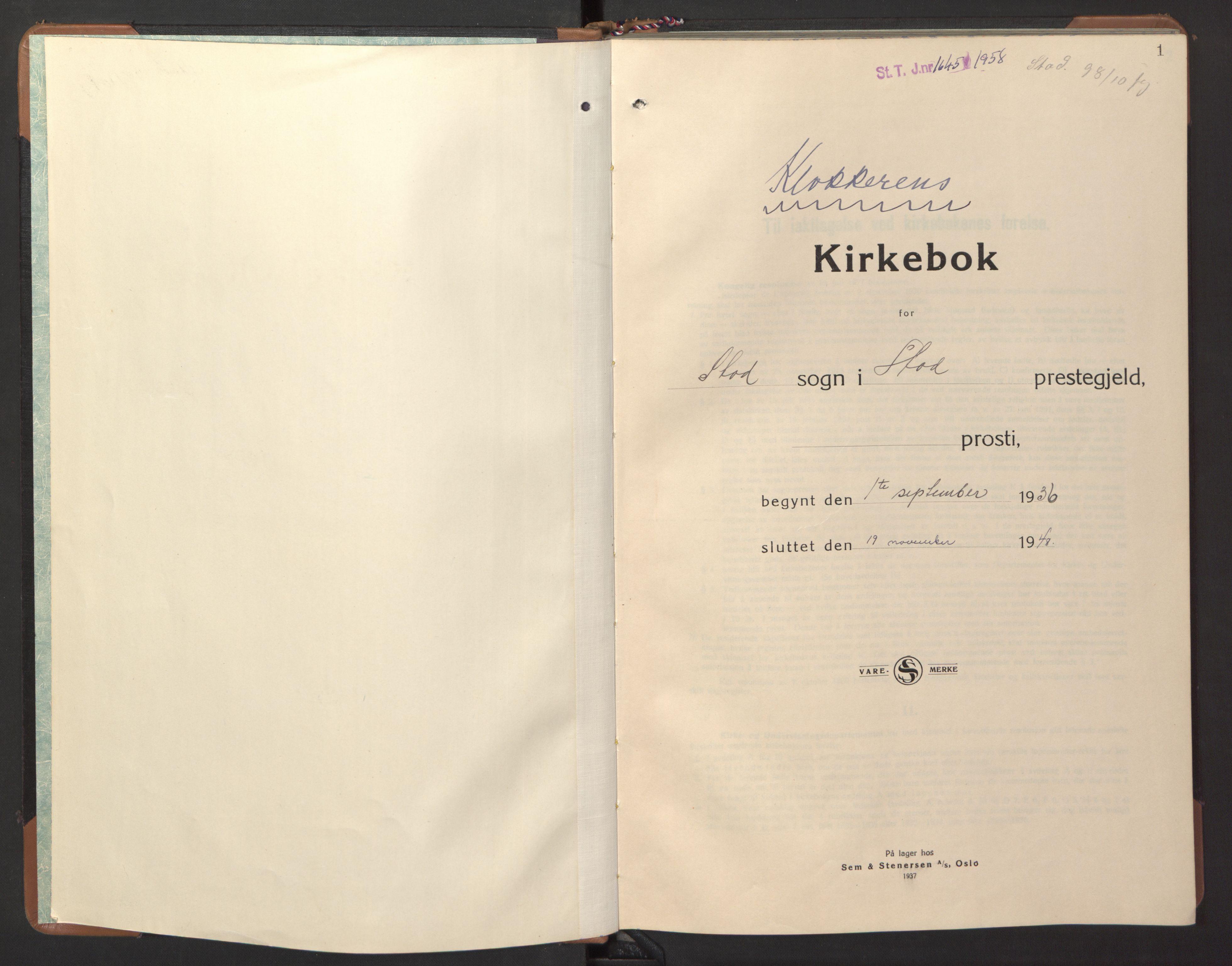 SAT, Ministerialprotokoller, klokkerbøker og fødselsregistre - Nord-Trøndelag, 746/L0456: Klokkerbok nr. 746C02, 1936-1948, s. 1