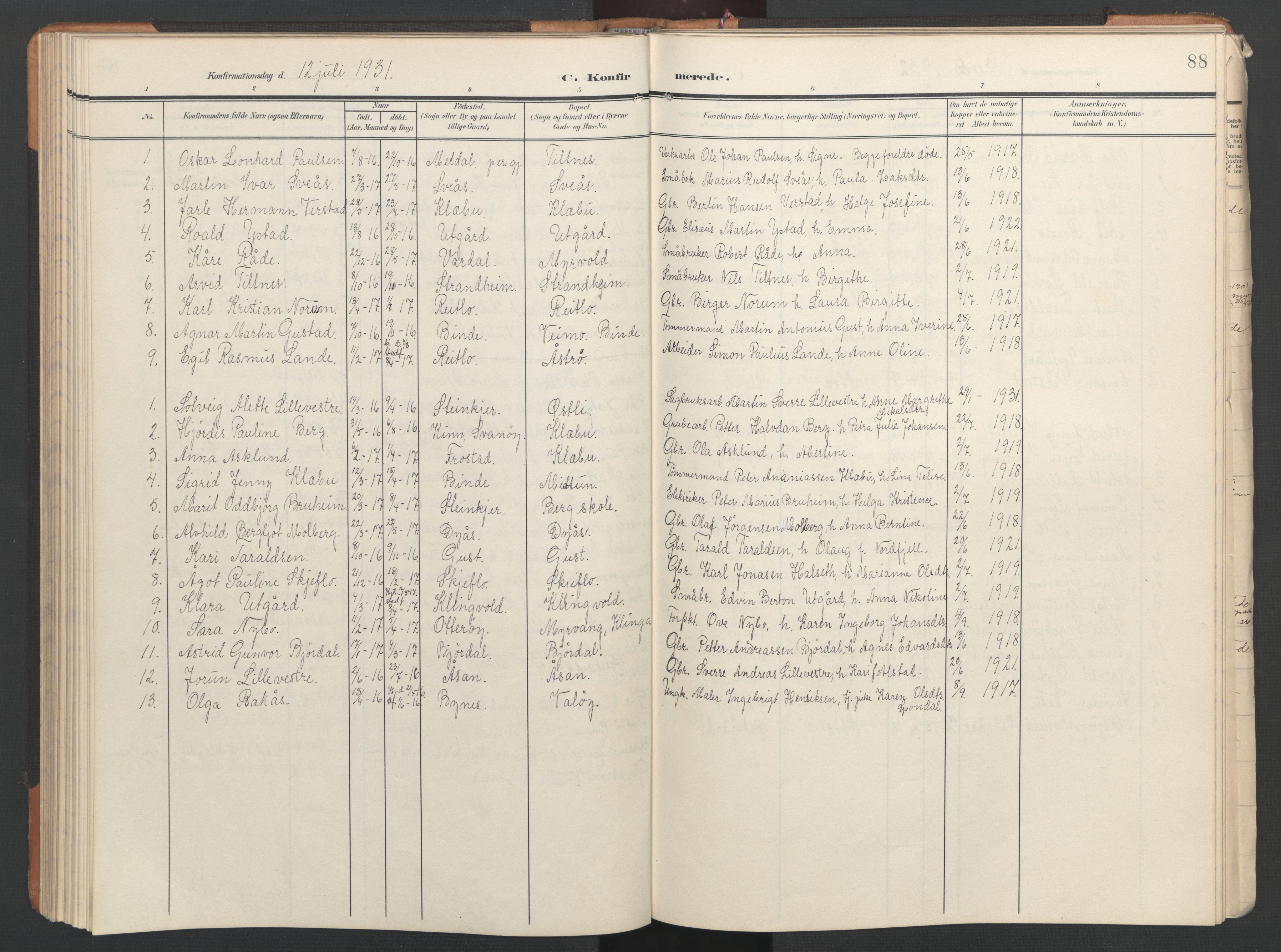 SAT, Ministerialprotokoller, klokkerbøker og fødselsregistre - Nord-Trøndelag, 746/L0455: Klokkerbok nr. 746C01, 1908-1933, s. 88
