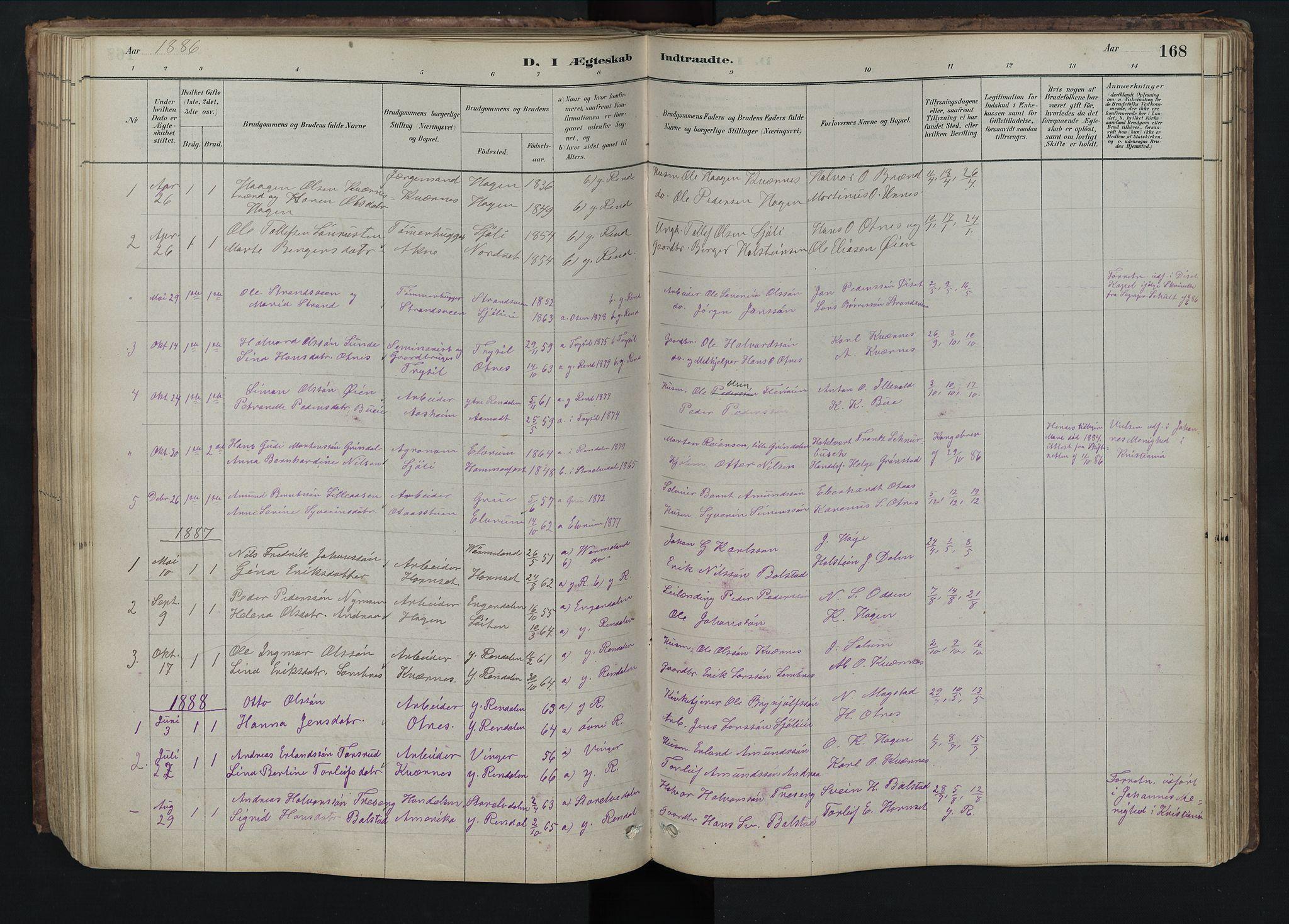 SAH, Rendalen prestekontor, H/Ha/Hab/L0009: Klokkerbok nr. 9, 1879-1902, s. 168