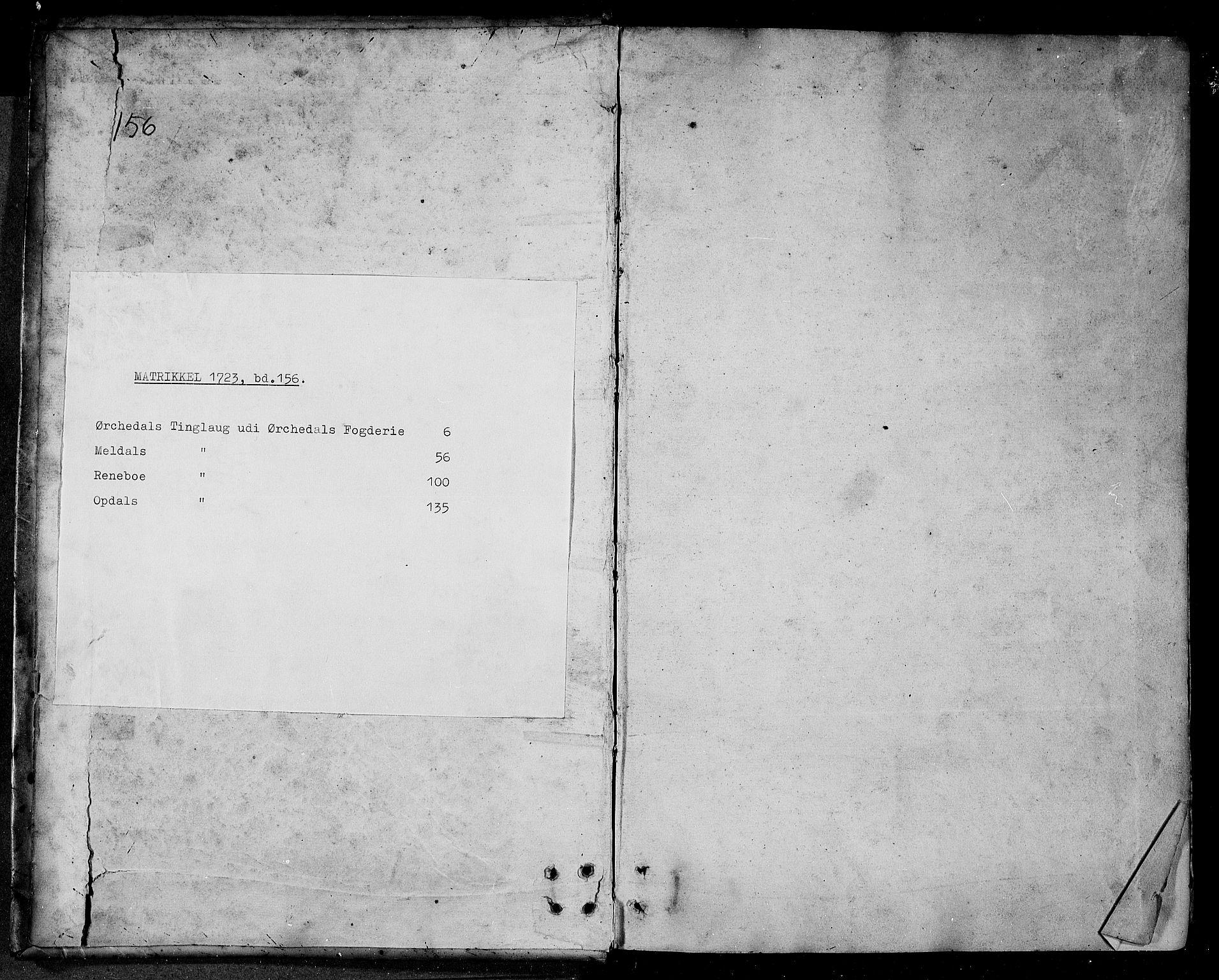 RA, Rentekammeret inntil 1814, Realistisk ordnet avdeling, N/Nb/Nbf/L0156: Orkdal eksaminasjonsprotokoll, 1723, s. upaginert