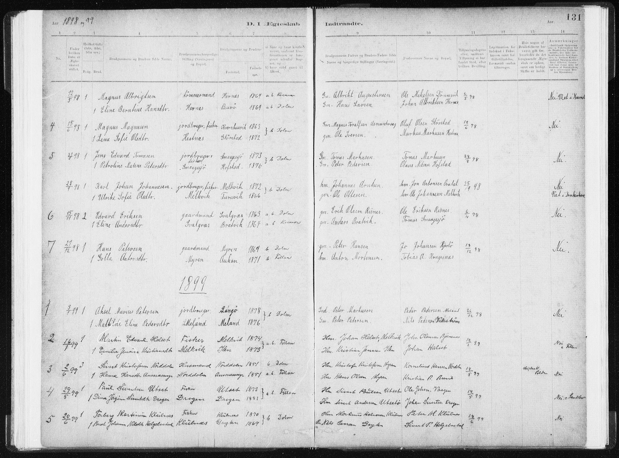 SAT, Ministerialprotokoller, klokkerbøker og fødselsregistre - Sør-Trøndelag, 634/L0533: Ministerialbok nr. 634A09, 1882-1901, s. 131