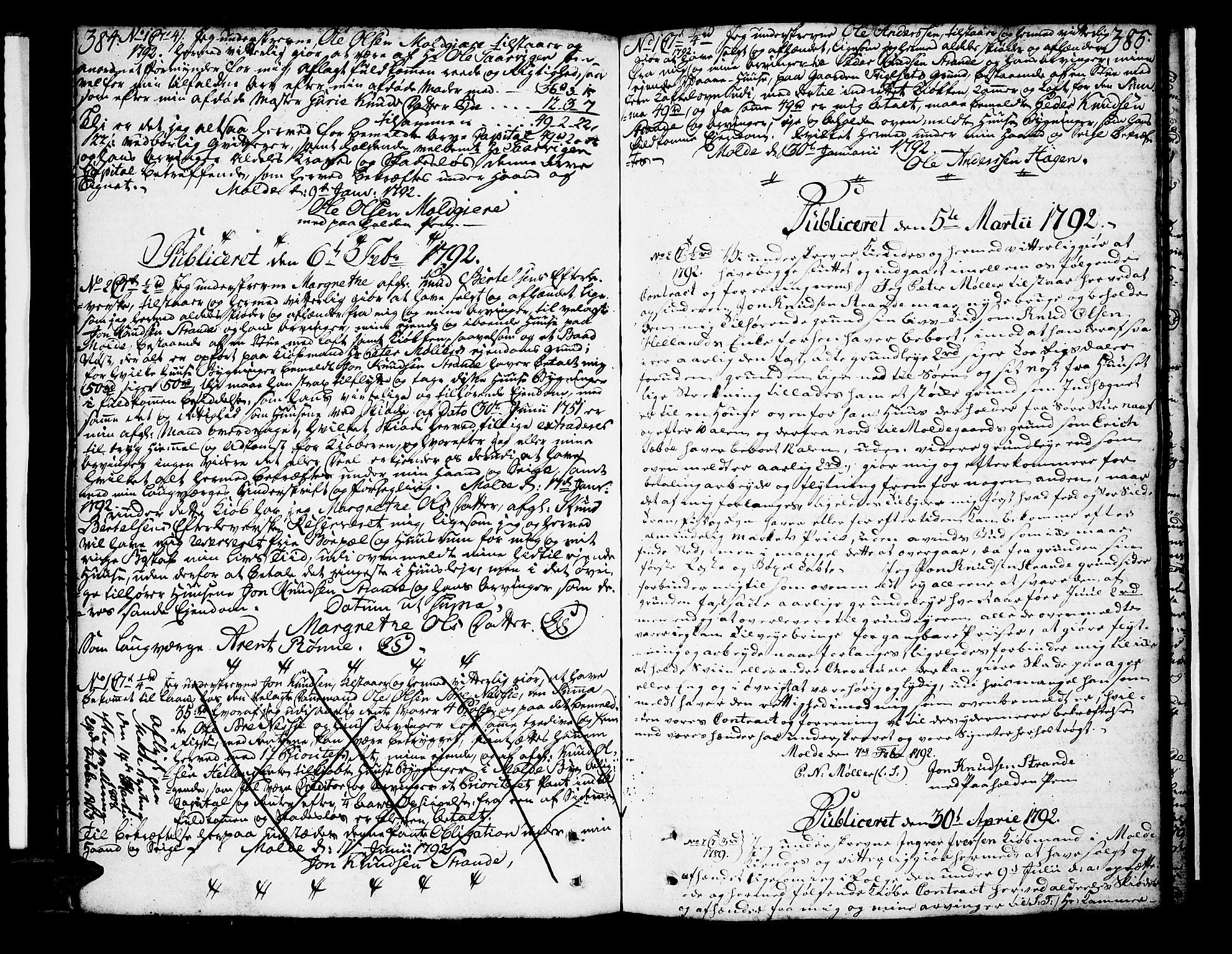 SAT, Molde byfogd, 2C/L0001: Pantebok nr. 1, 1748-1823, s. 384-385